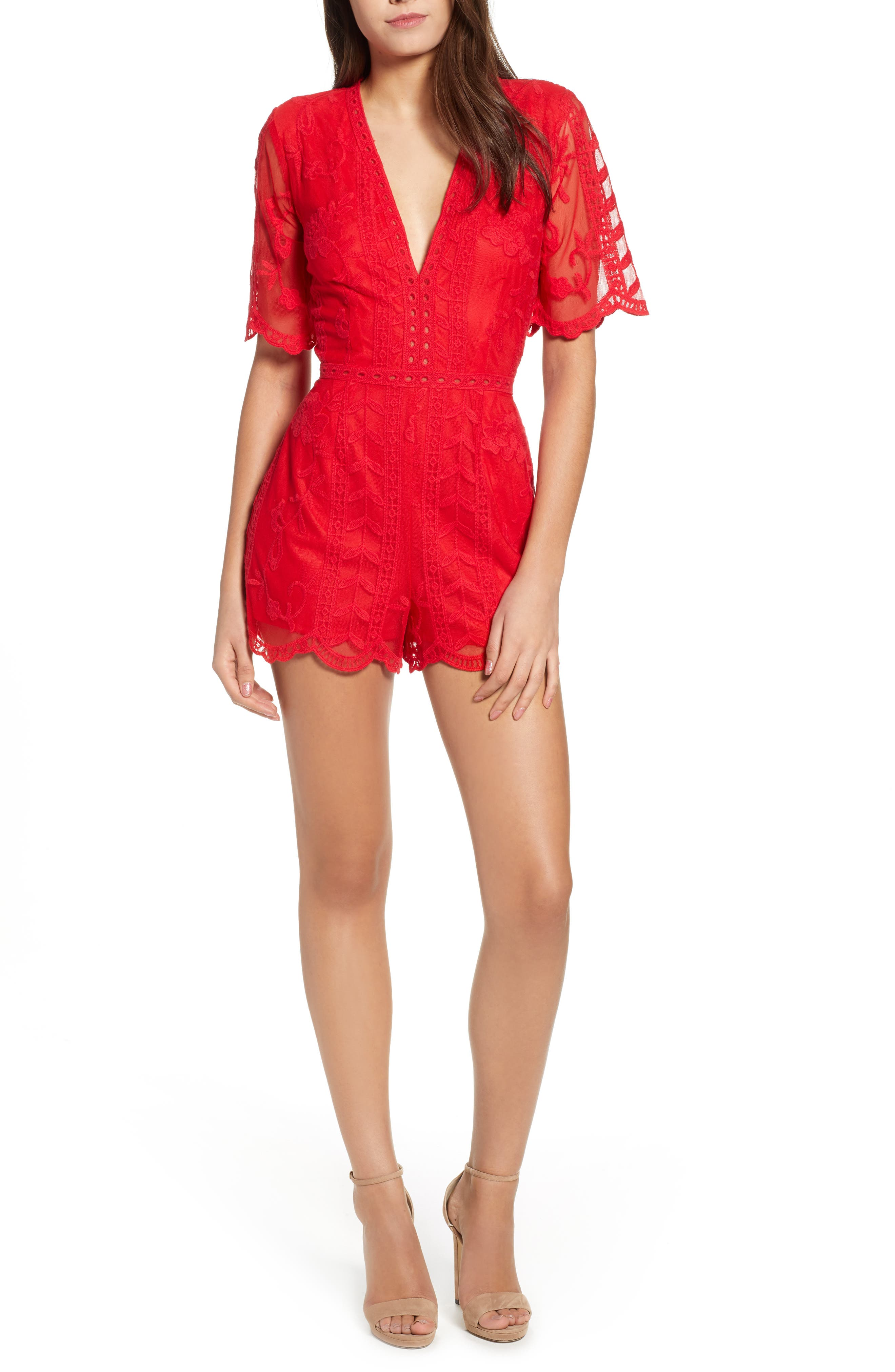 Plunging Lace Romper,                             Main thumbnail 1, color,                             Red Lipstick