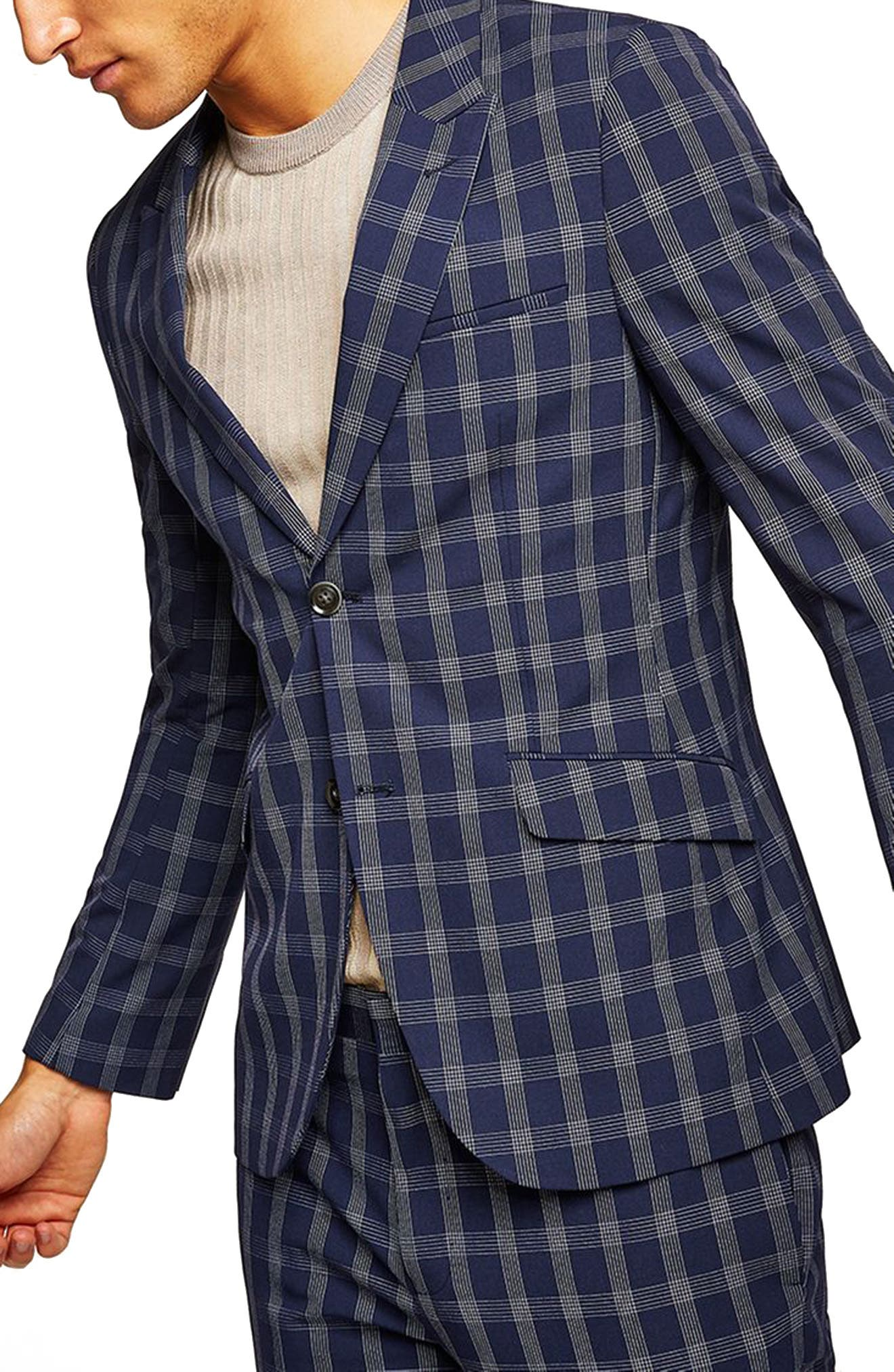 TOPMAN Muscle Fit Check Suit Jacket in Navy Blue Multi