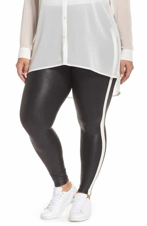 95154013dd5f7 SPANX® Side Stripe Faux Leather Leggings (Plus Size)