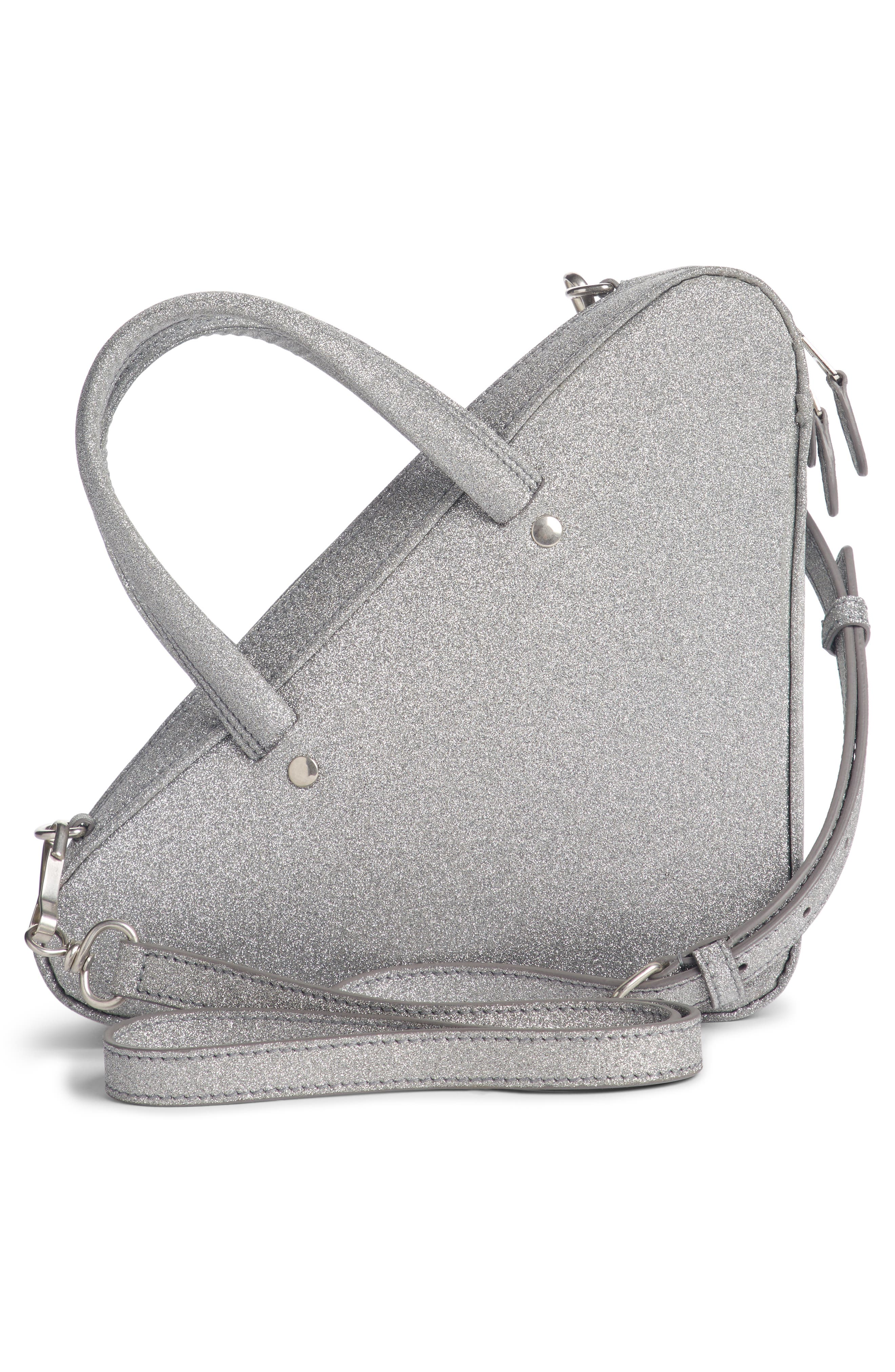 Extra Small Glitter Triangle Leather Bag,                             Alternate thumbnail 3, color,                             Argent/ Noir