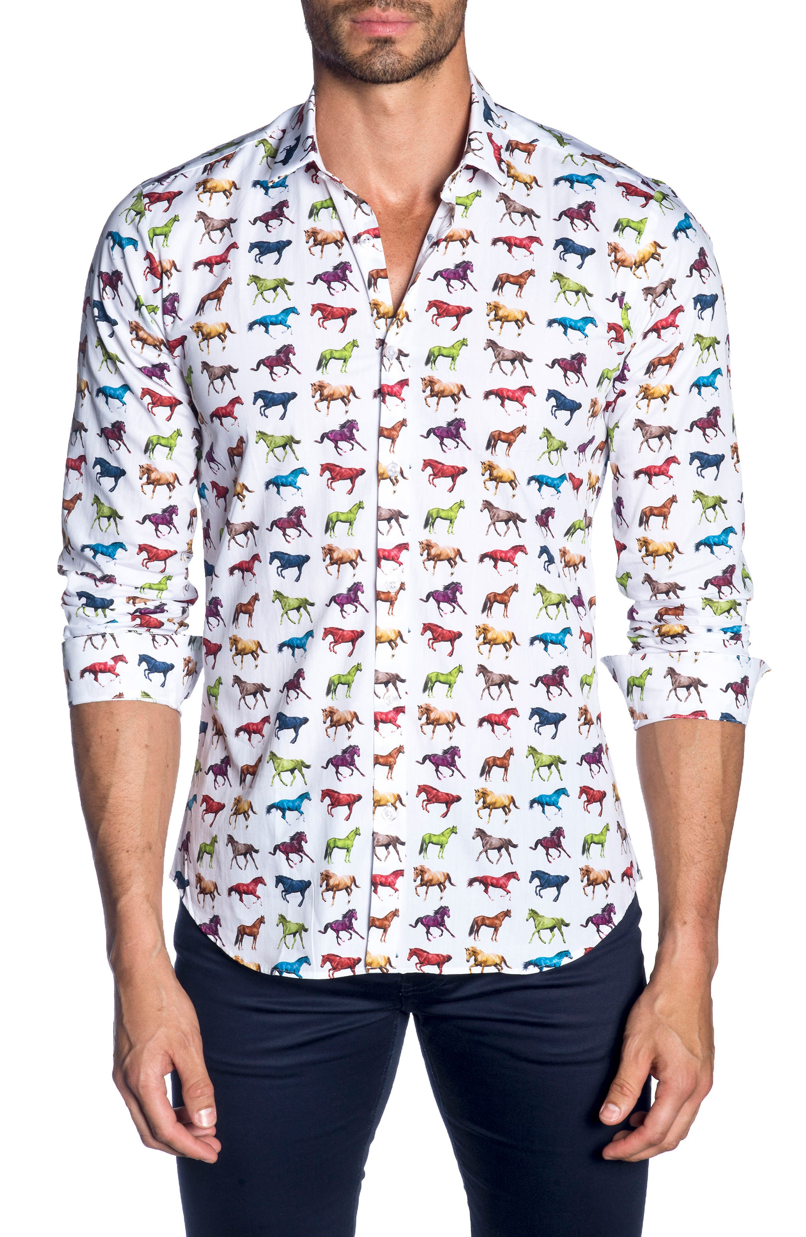 Trim Fit Sport Shirt,                             Main thumbnail 1, color,                             White Horses