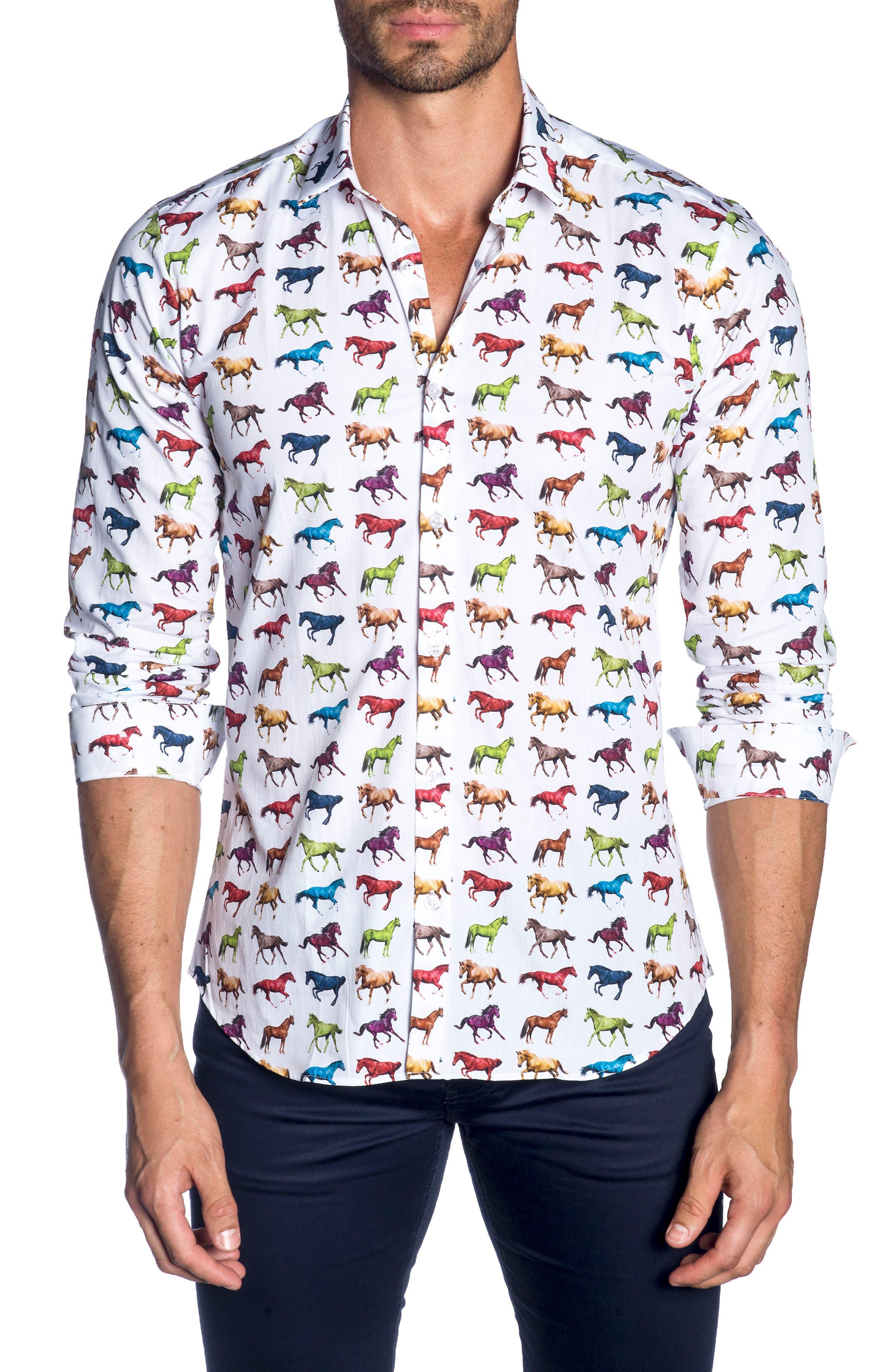 Trim Fit Sport Shirt,                         Main,                         color, White Horses