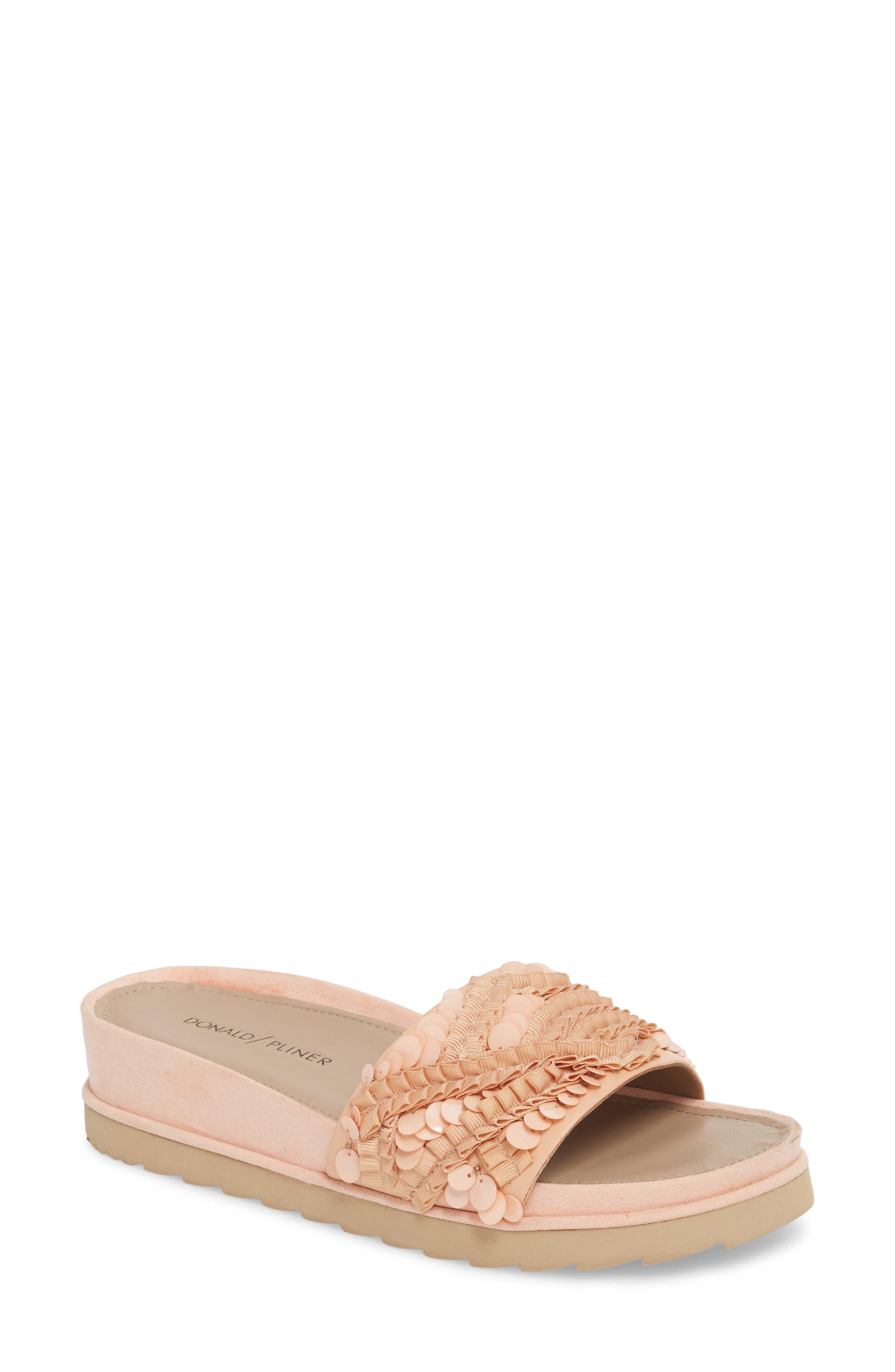 Cava Slide Sandal,                         Main,                         color, Peony Leather