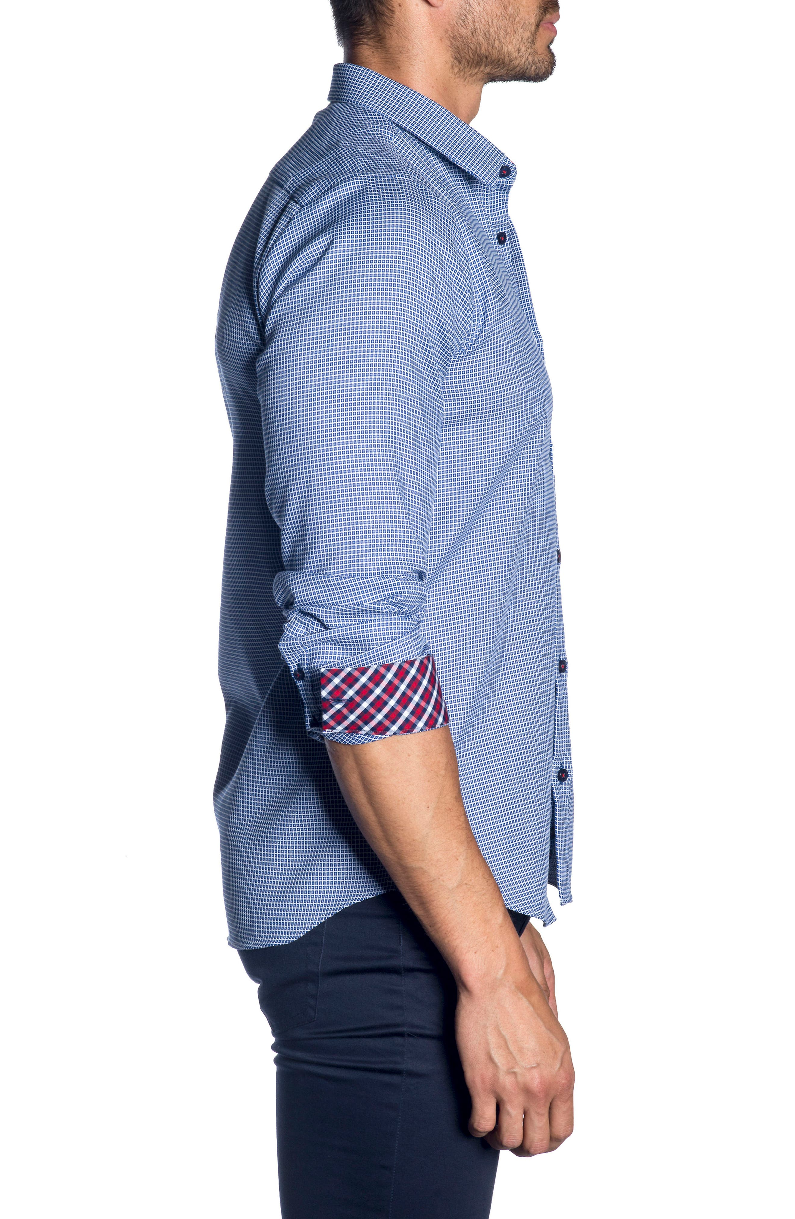 Trim Fit Sport Shirt,                             Alternate thumbnail 3, color,                             French Blue  White