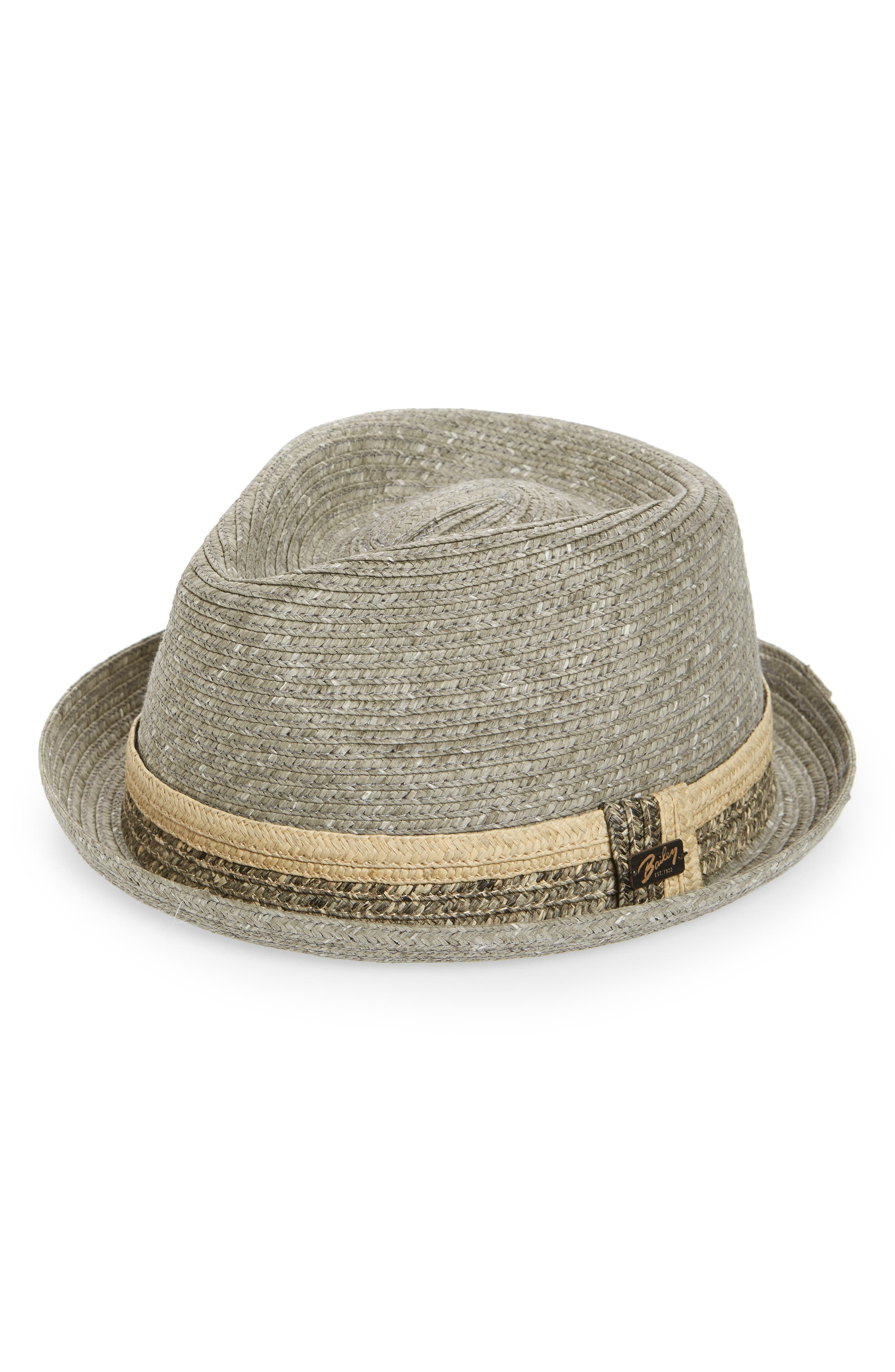 Pelly Straw Trilby,                         Main,                         color, Grey