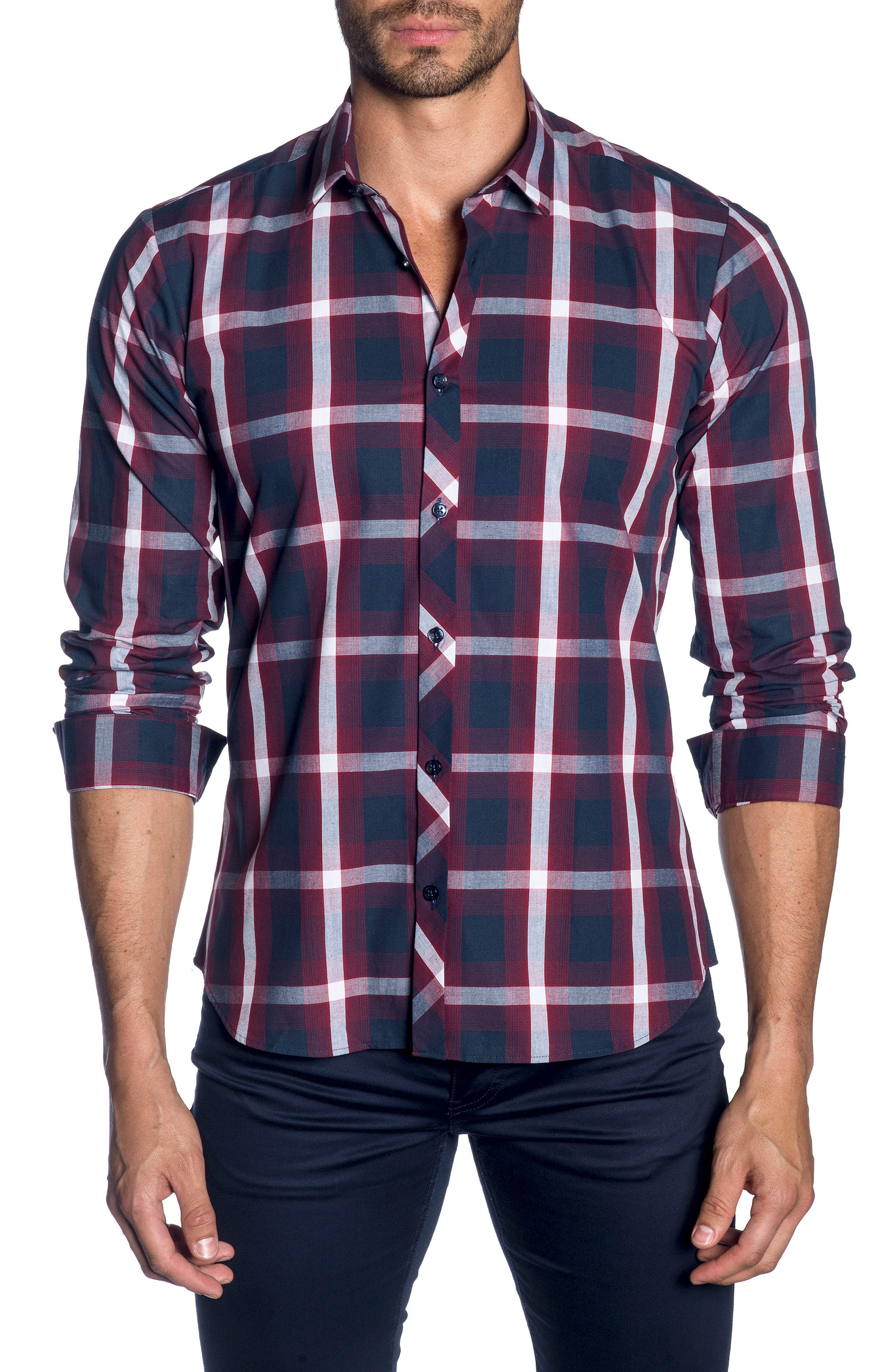 Trim Fit Sport Shirt,                             Main thumbnail 1, color,                             Navy Burgundy Check