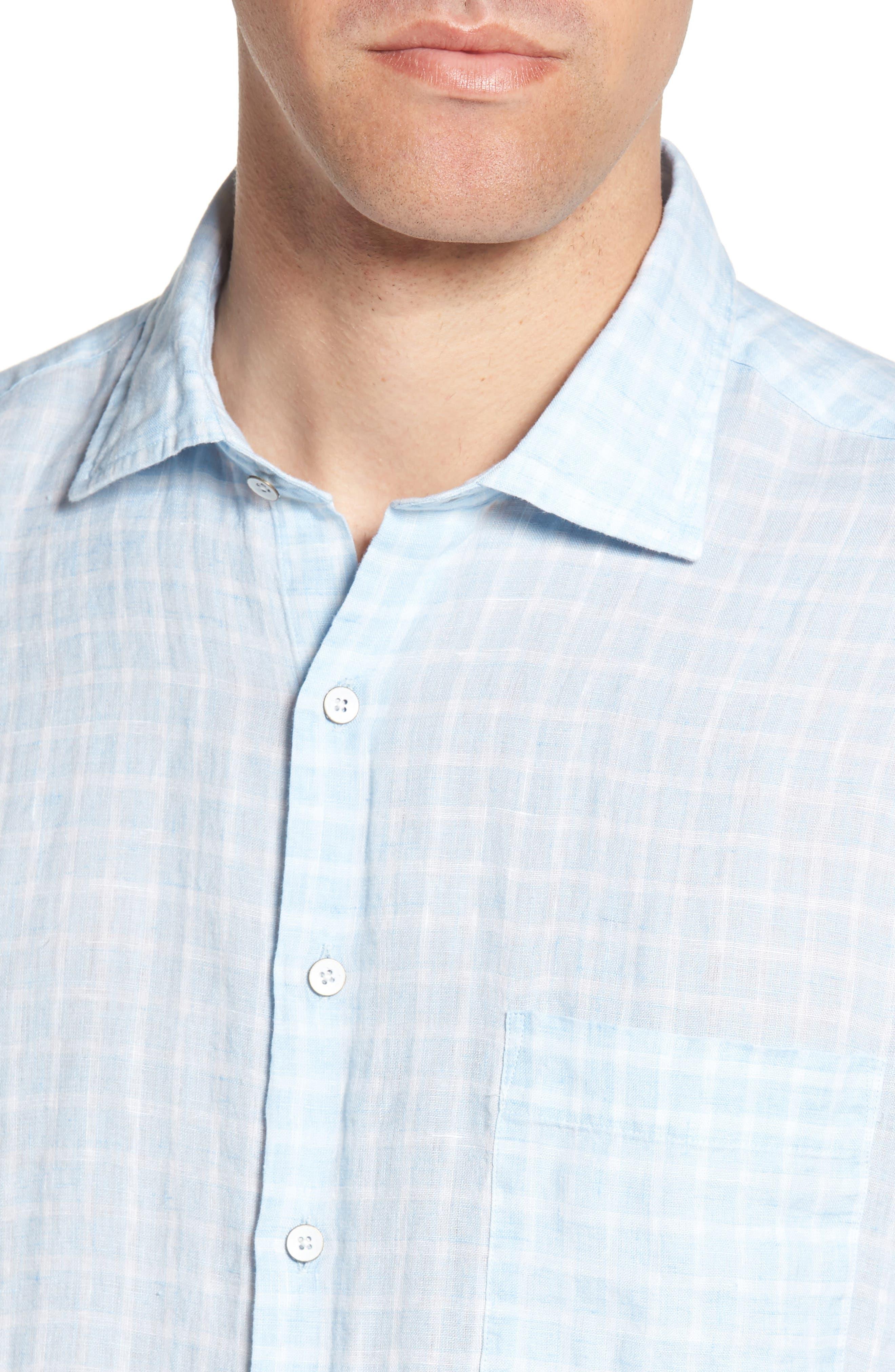 Avonside Check Linen Sport Shirt,                             Alternate thumbnail 2, color,                             Stonewash