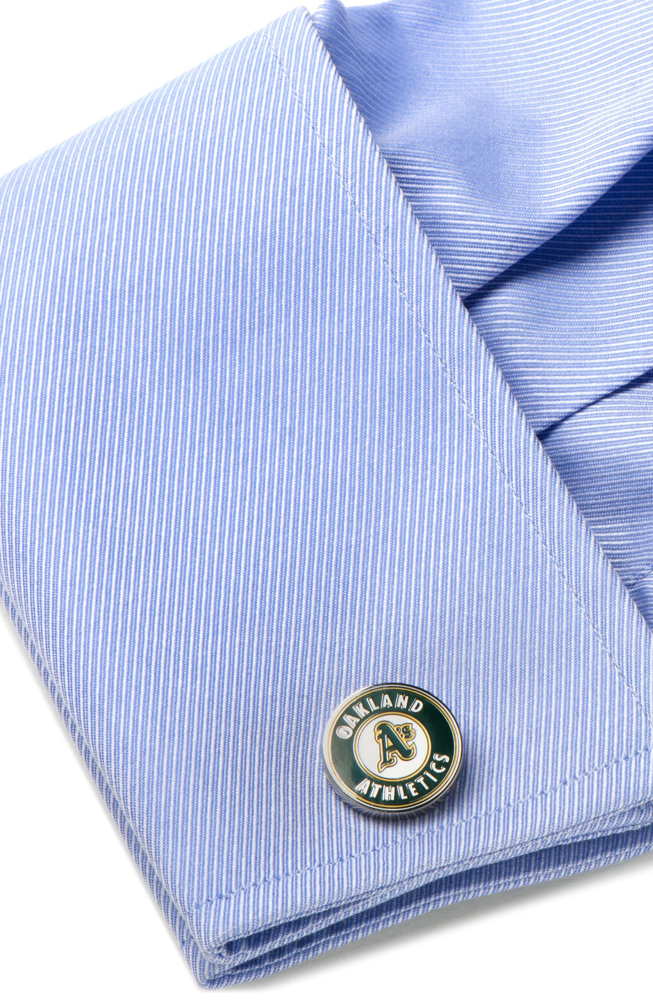 Oakland Athletics Cuff Links,                             Alternate thumbnail 3, color,                             Green