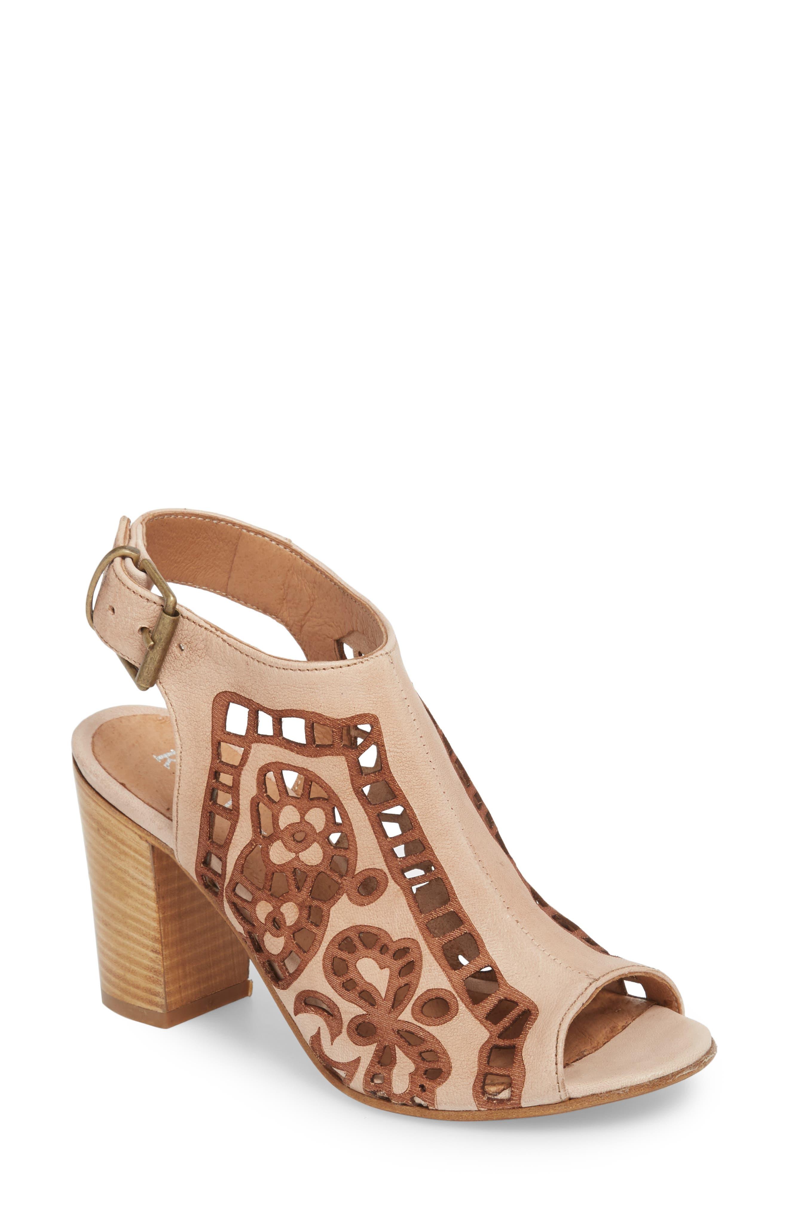 Sabrina Floral Cutout Shield Sandal,                             Main thumbnail 1, color,                             Blush Leather