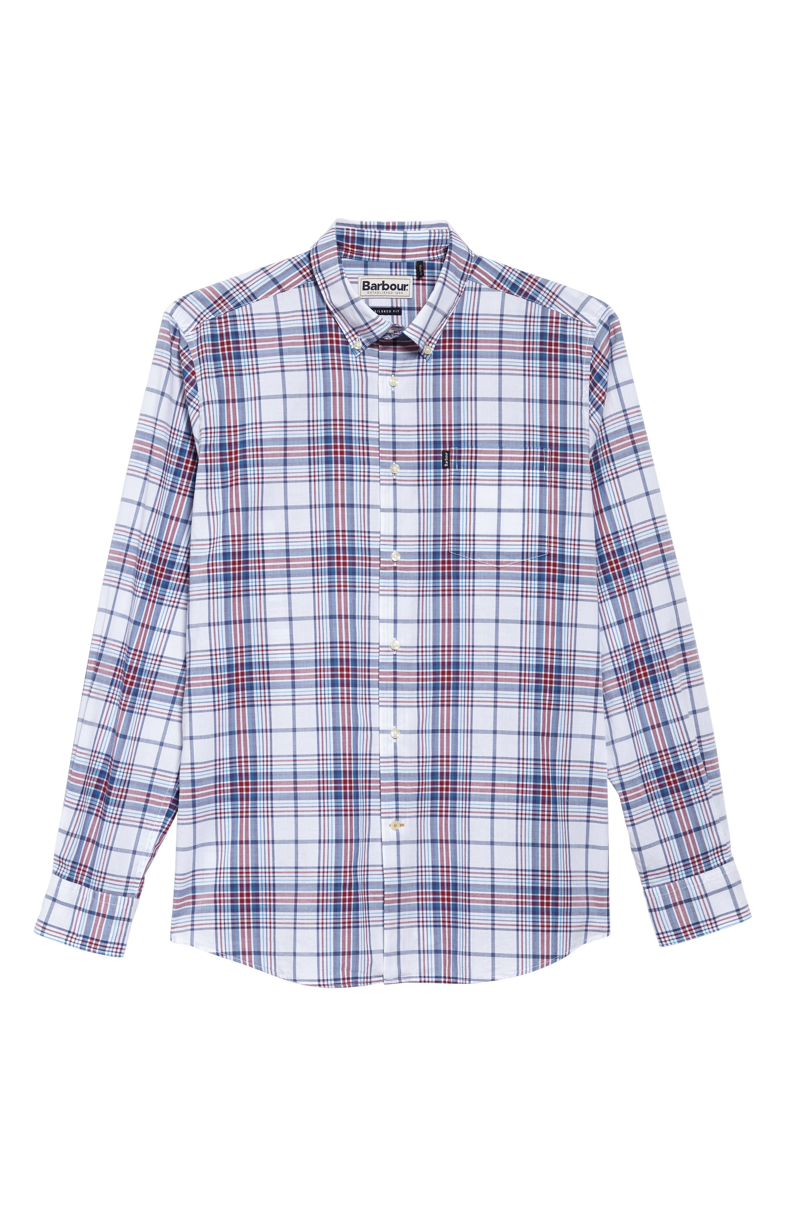 Christopher Tailored Fit Plaid Sport Shirt,                             Alternate thumbnail 5, color,                             Biking Red