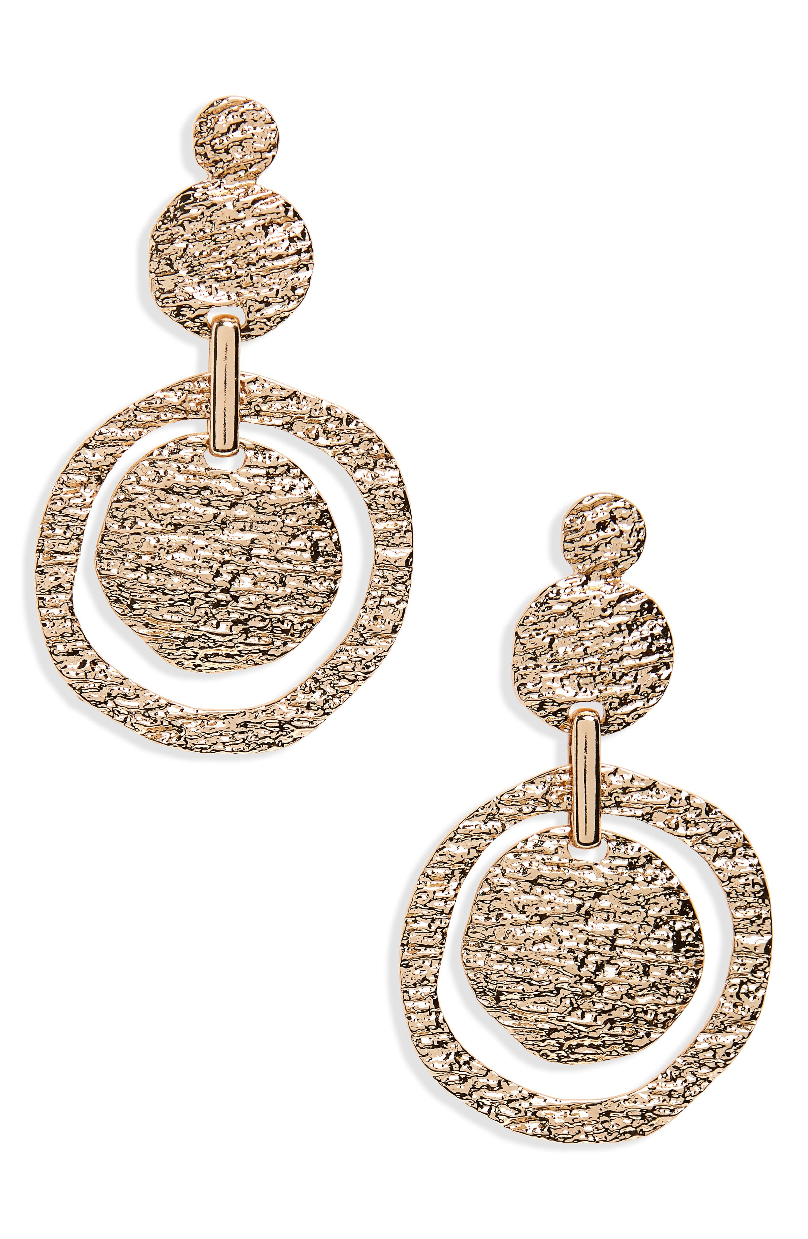 Molten Metal Statement Earrings,                             Main thumbnail 1, color,                             Gold