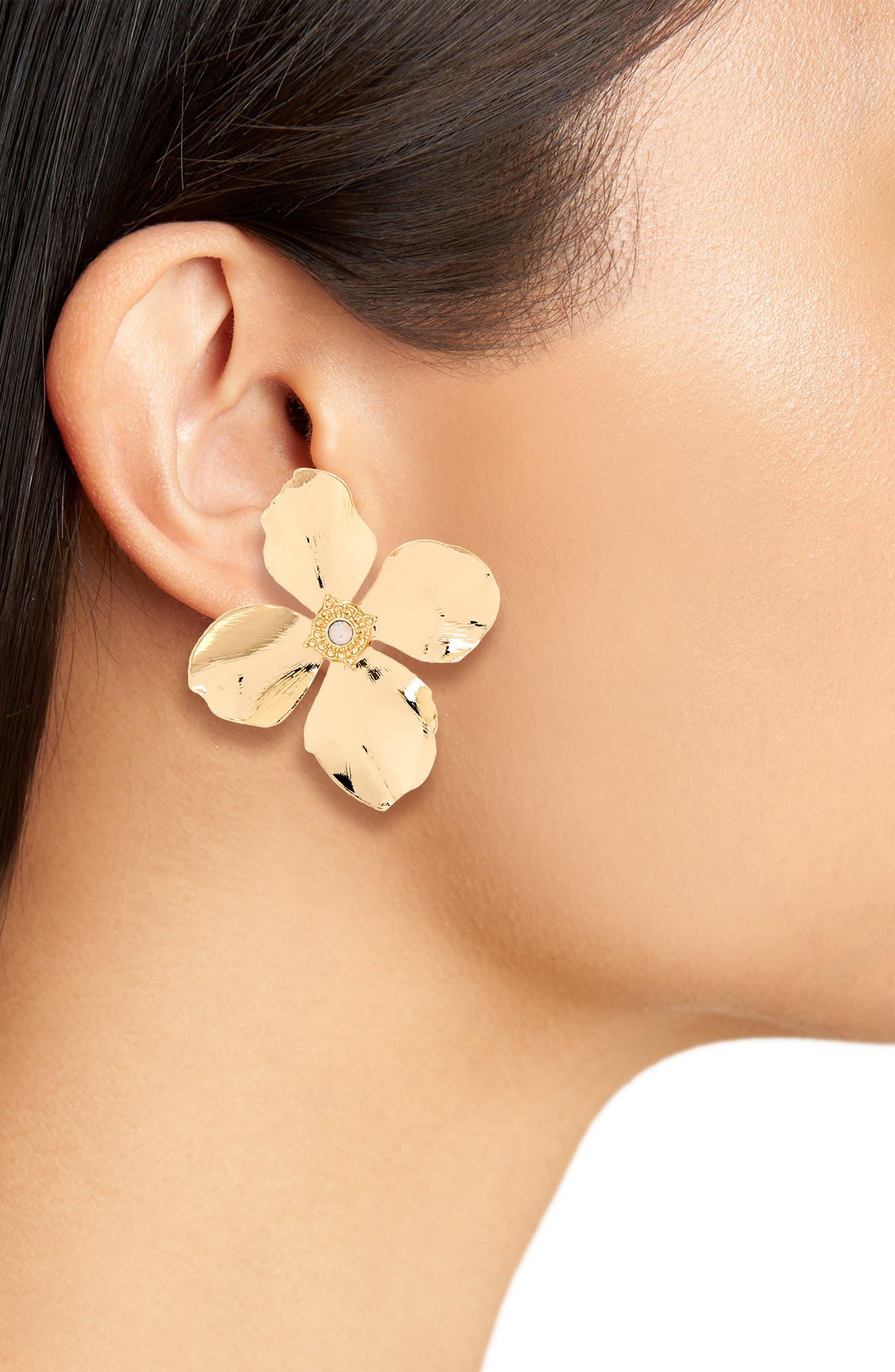 Azalea Floral Earrings,                             Alternate thumbnail 2, color,                             Yellow Gold