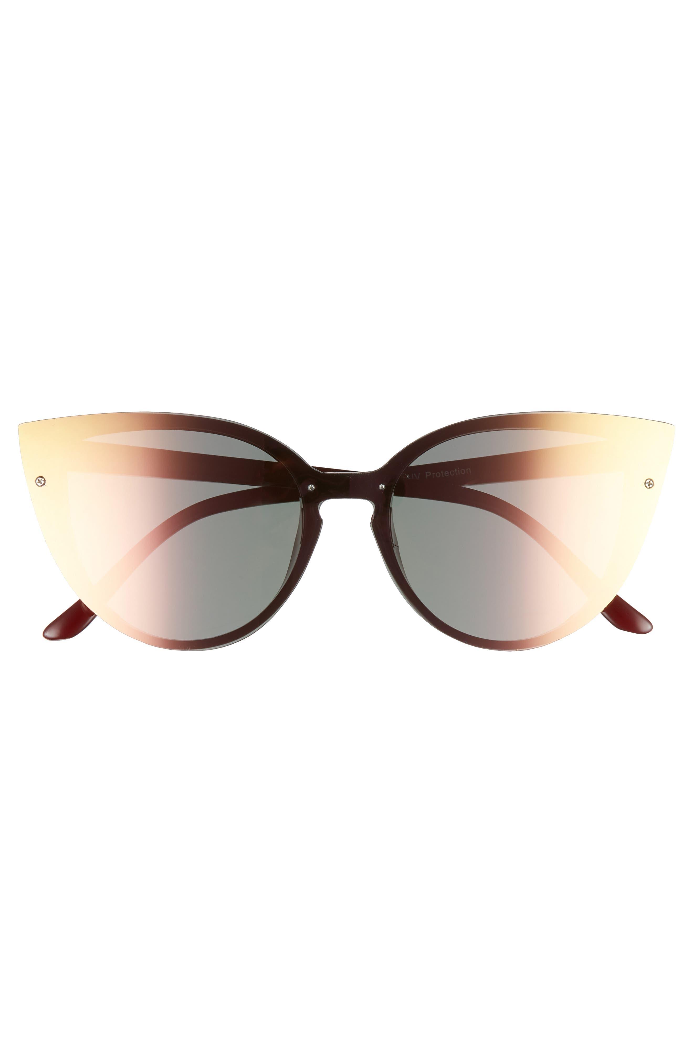 52mm Flat Cat Eye Sunglasses,                             Alternate thumbnail 3, color,                             Burgundy/ Green