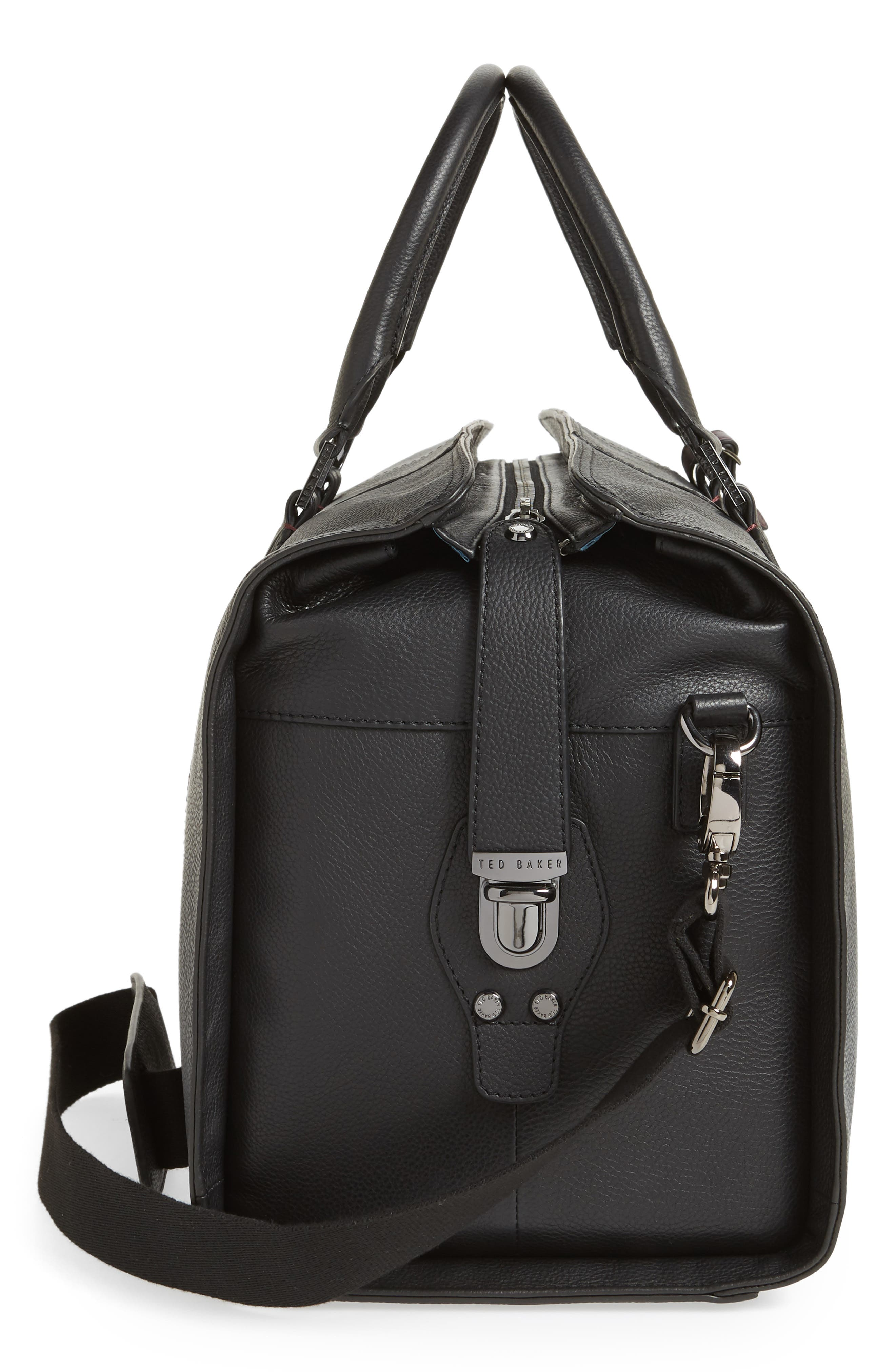 Geeves Stripe Leather Duffel Bag,                             Alternate thumbnail 5, color,                             Black