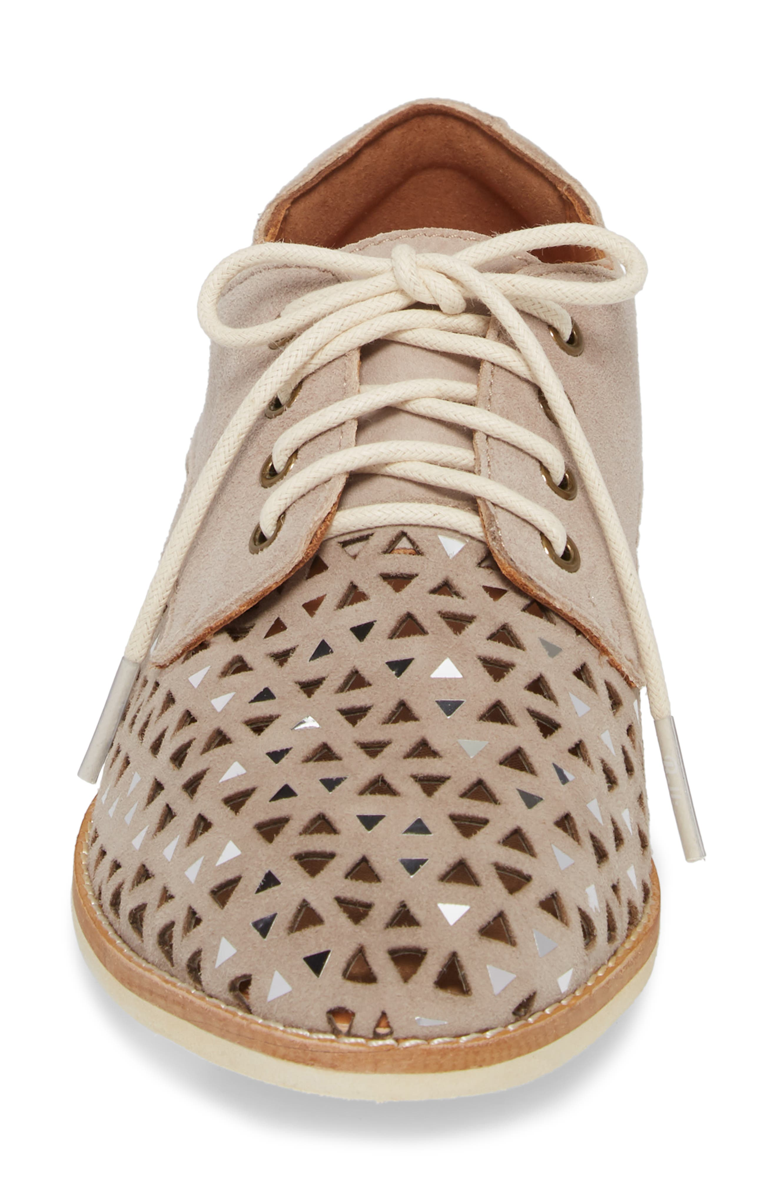 Triangle Perforated Derby,                             Alternate thumbnail 3, color,                             Light Taupe Suede