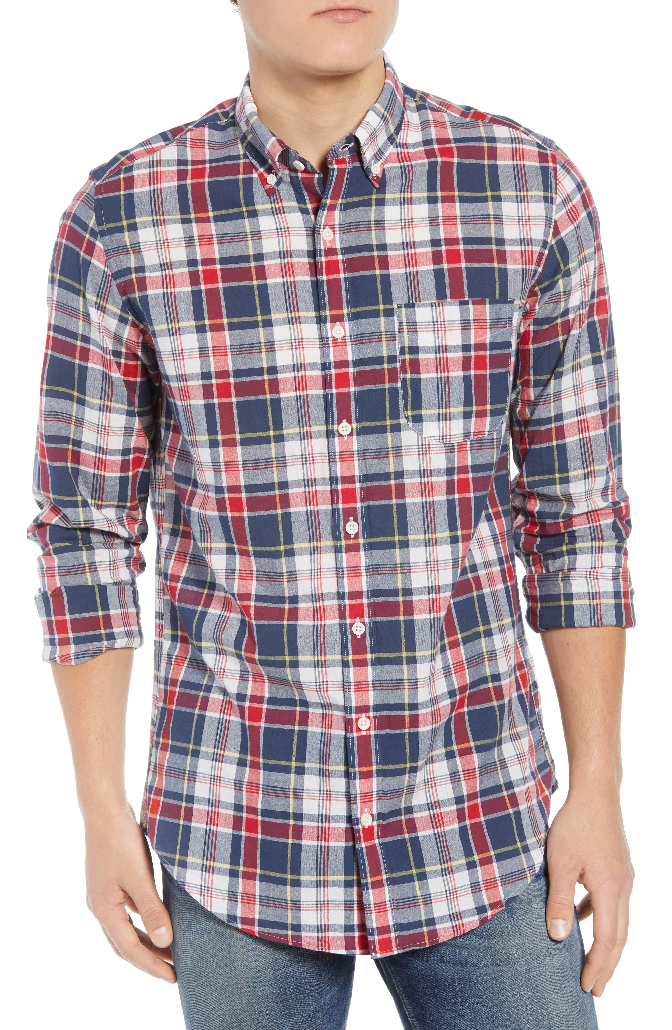 Regular Fit Madras Plaid Sport Shirt,                         Main,                         color, Navy Ink