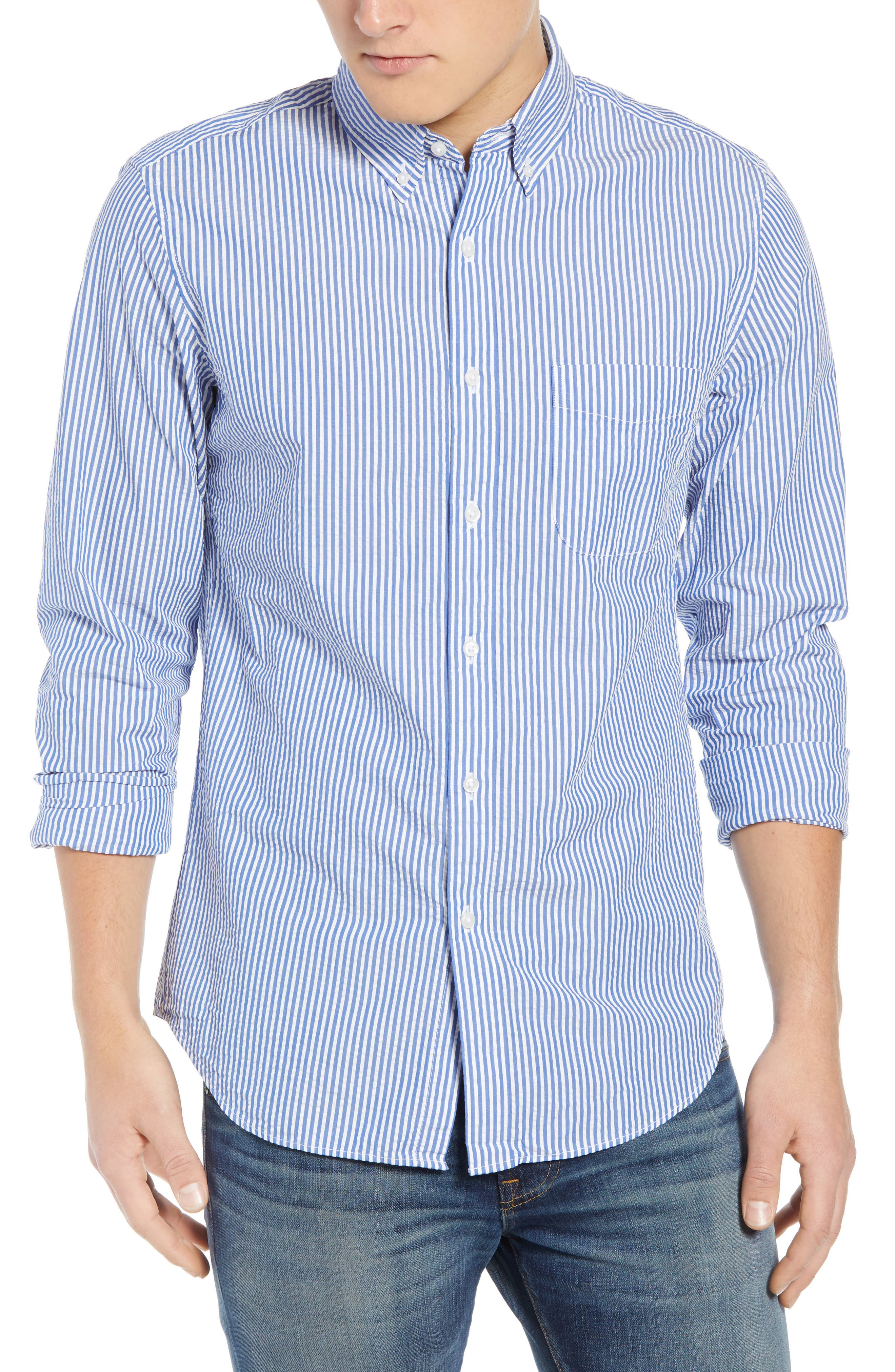 Seersucker Sport Shirt,                         Main,                         color, White Blue