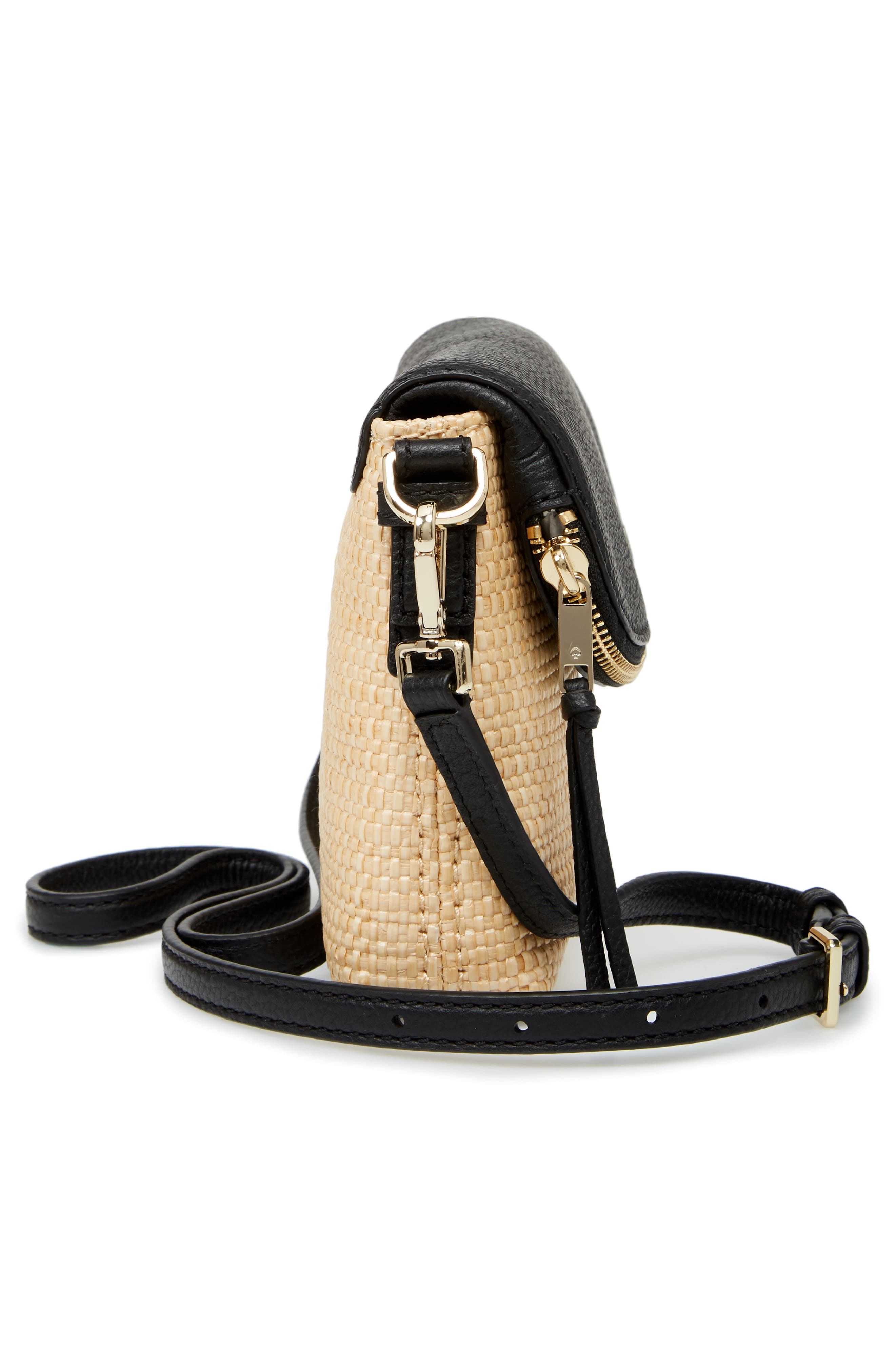 jackson street – harlyn straw & leather crossbody bag,                             Alternate thumbnail 5, color,                             Light Natural