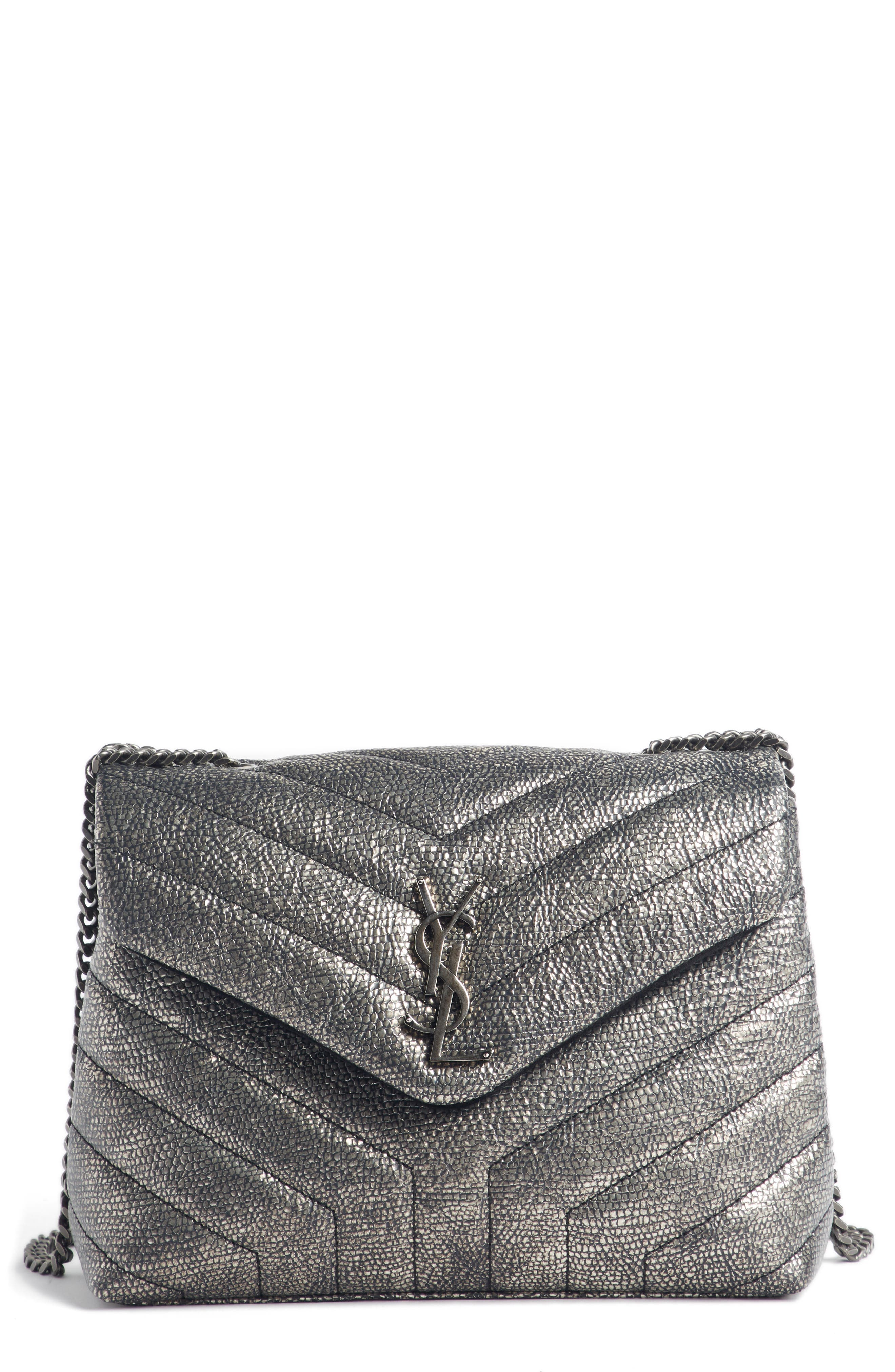 Loulou Small Metallic Leather Shoulder Bag,                             Main thumbnail 1, color,                             Graphtie