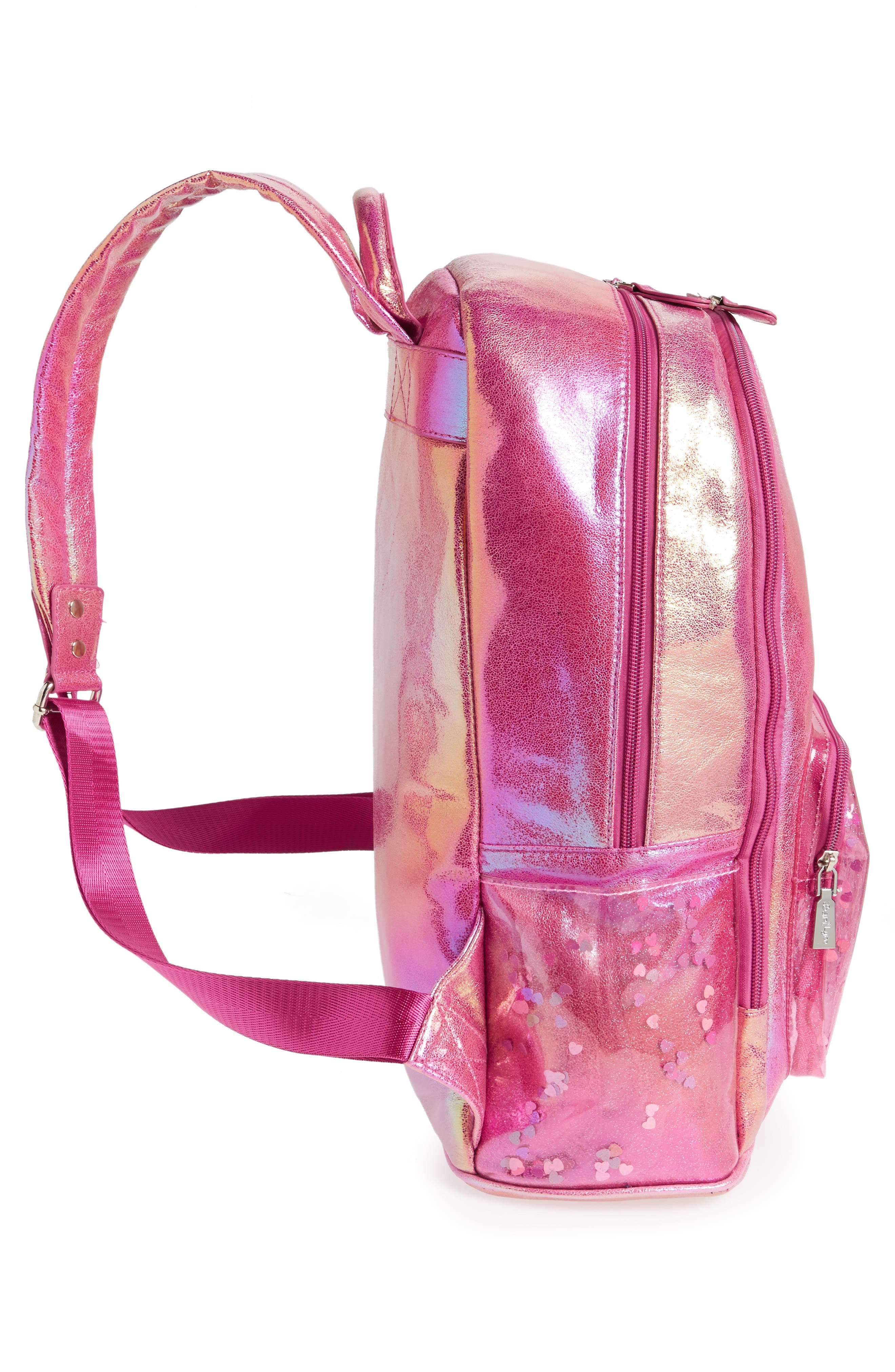 Heart Confetti Holographic Backpack,                             Alternate thumbnail 3, color,                             Pink