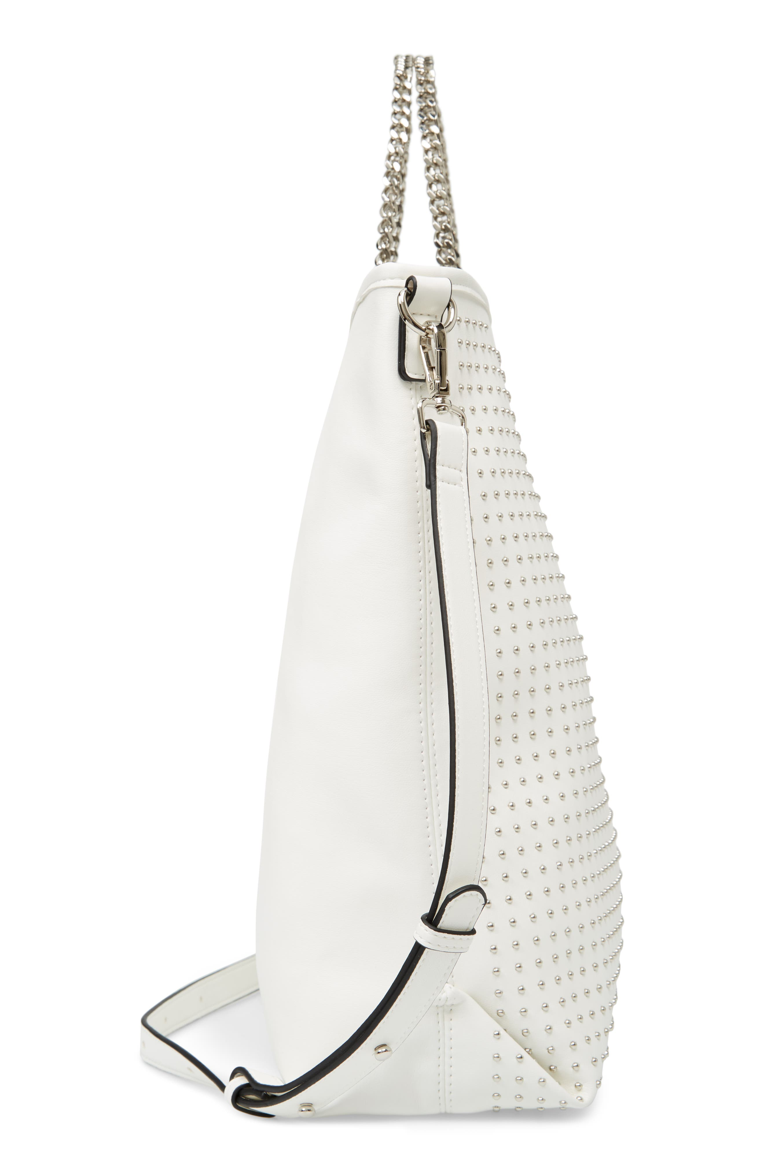 Pin Stud Faux Leather Tote,                             Alternate thumbnail 3, color,                             White