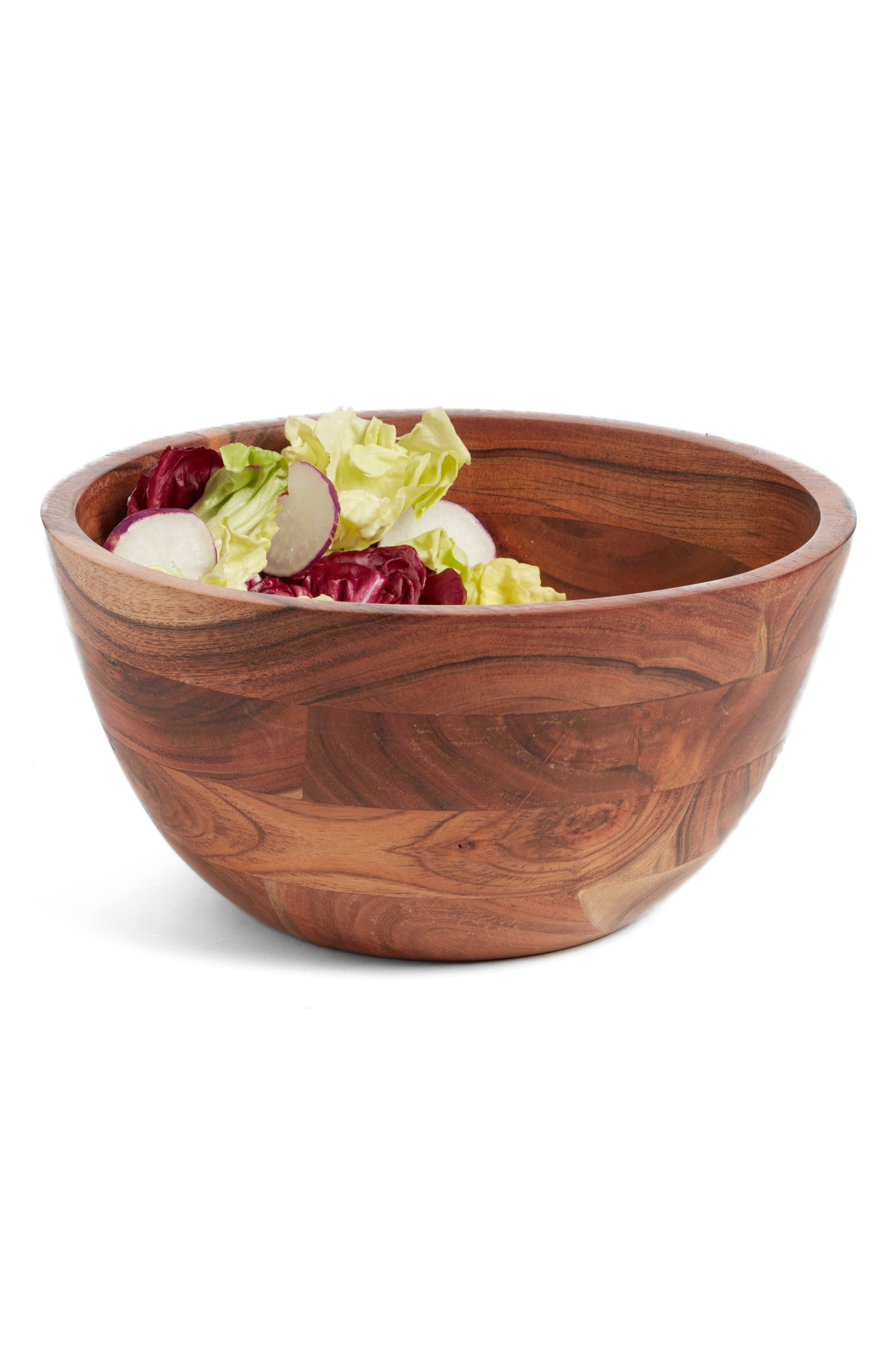 Medium Wood Salad Bowl,                             Main thumbnail 1, color,                             Brown