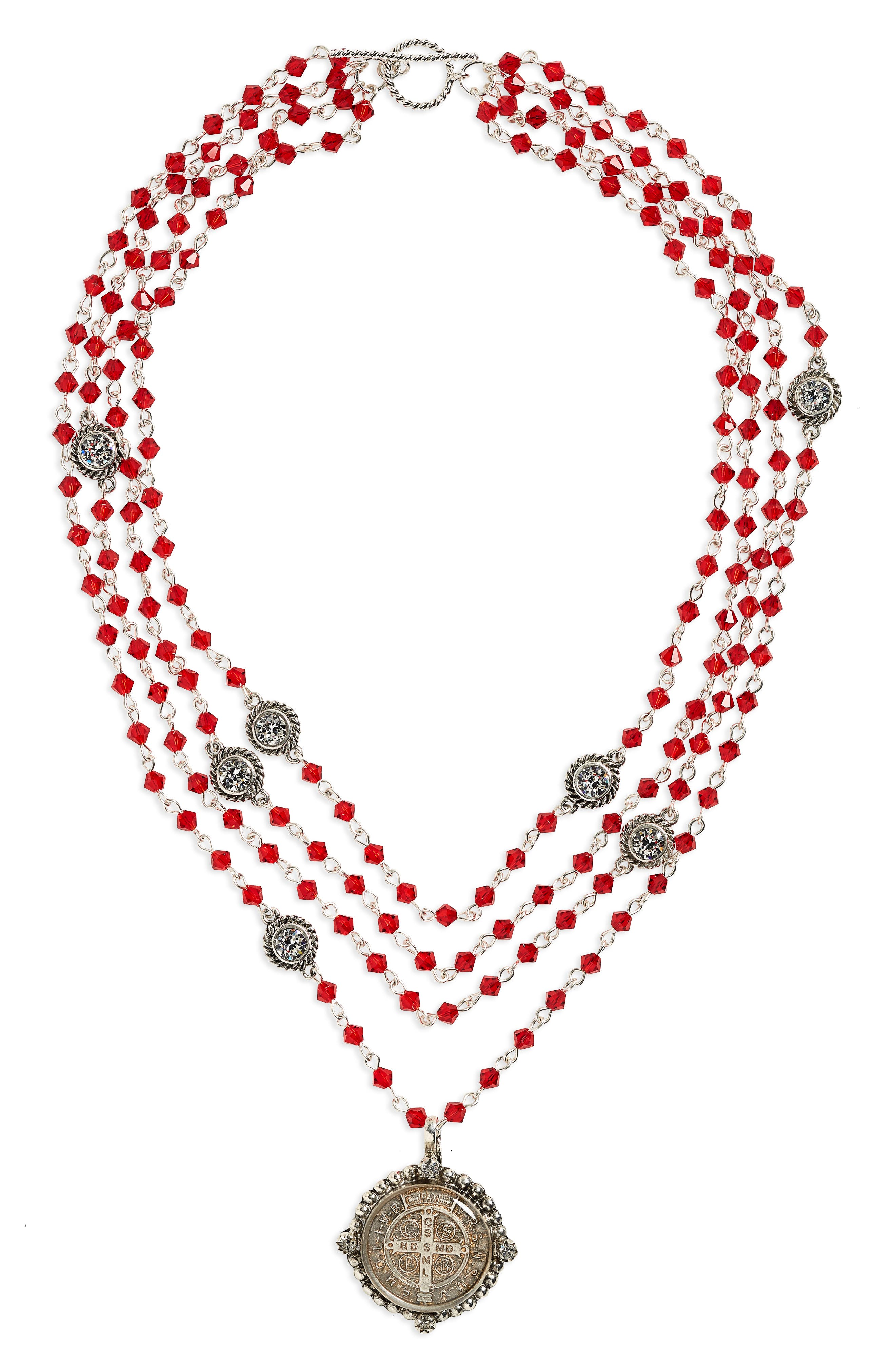 Bicone Magdalena Necklace,                         Main,                         color, Scarlet W/ Clear Accent