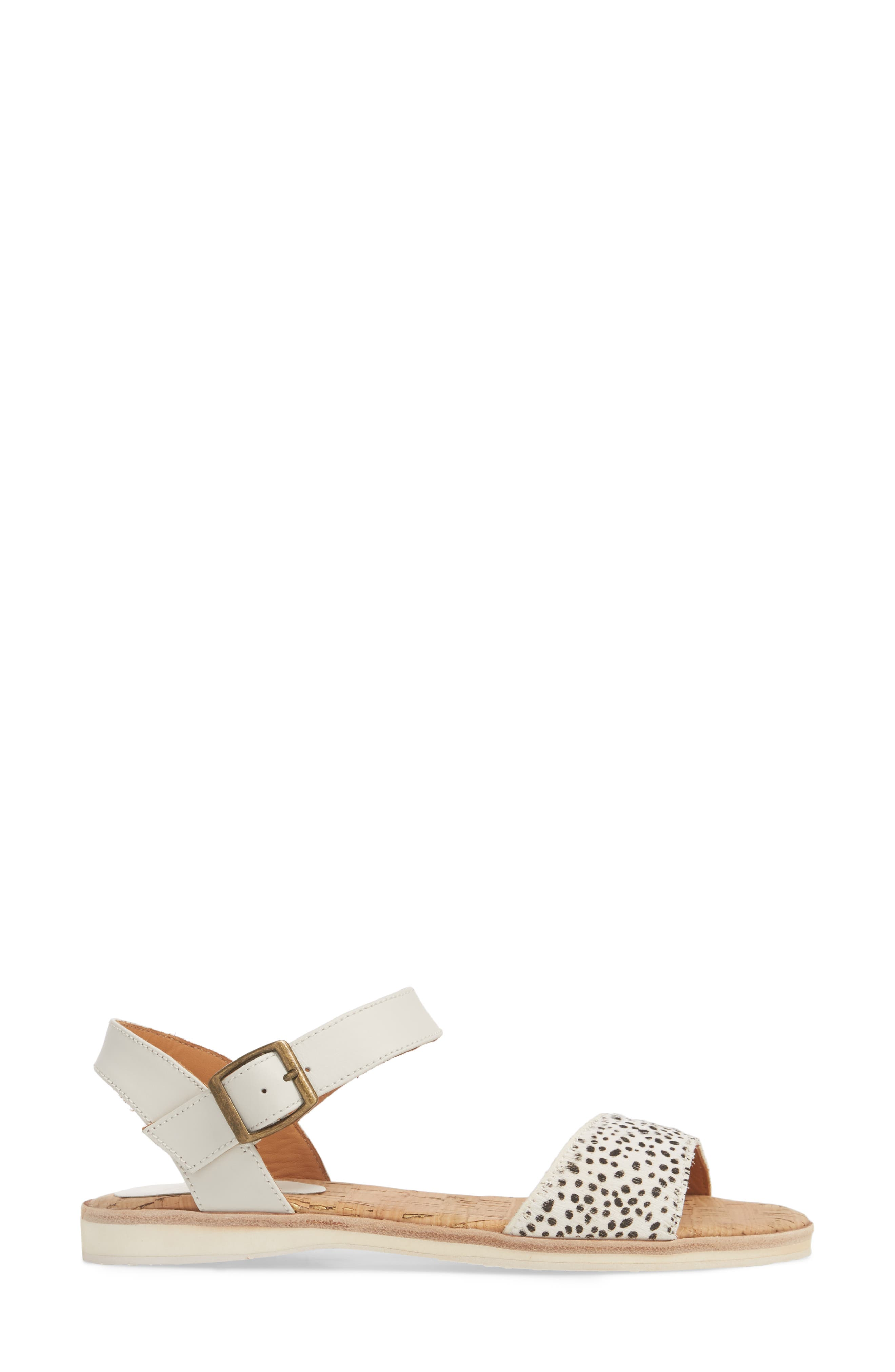 Genuine Calf Hair Sandal,                             Alternate thumbnail 6, color,                             Snow Leopard/ White Leather