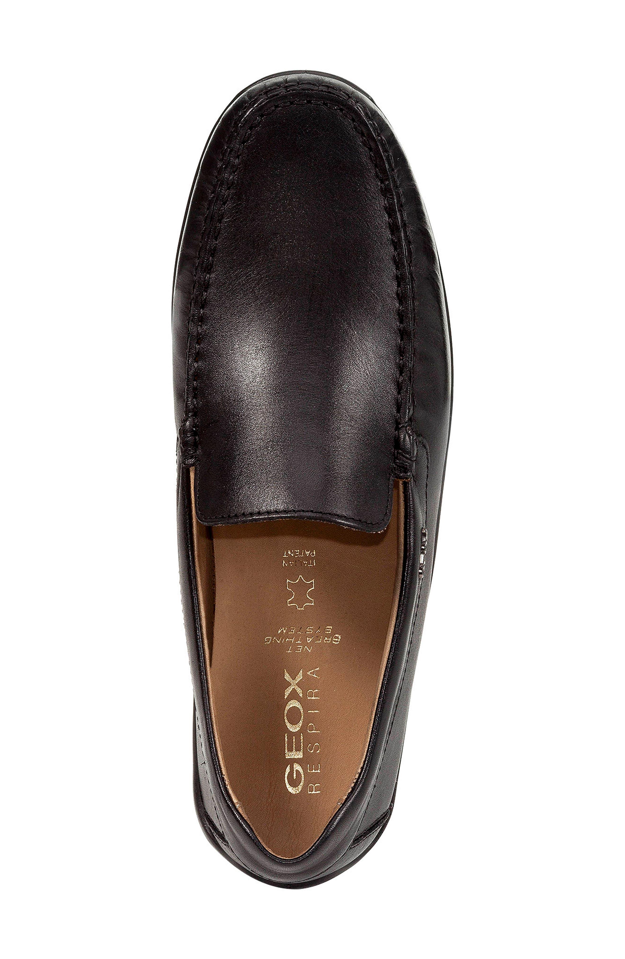 'U Xense Mox' Driving Shoe,                             Alternate thumbnail 4, color,                             Black Leather