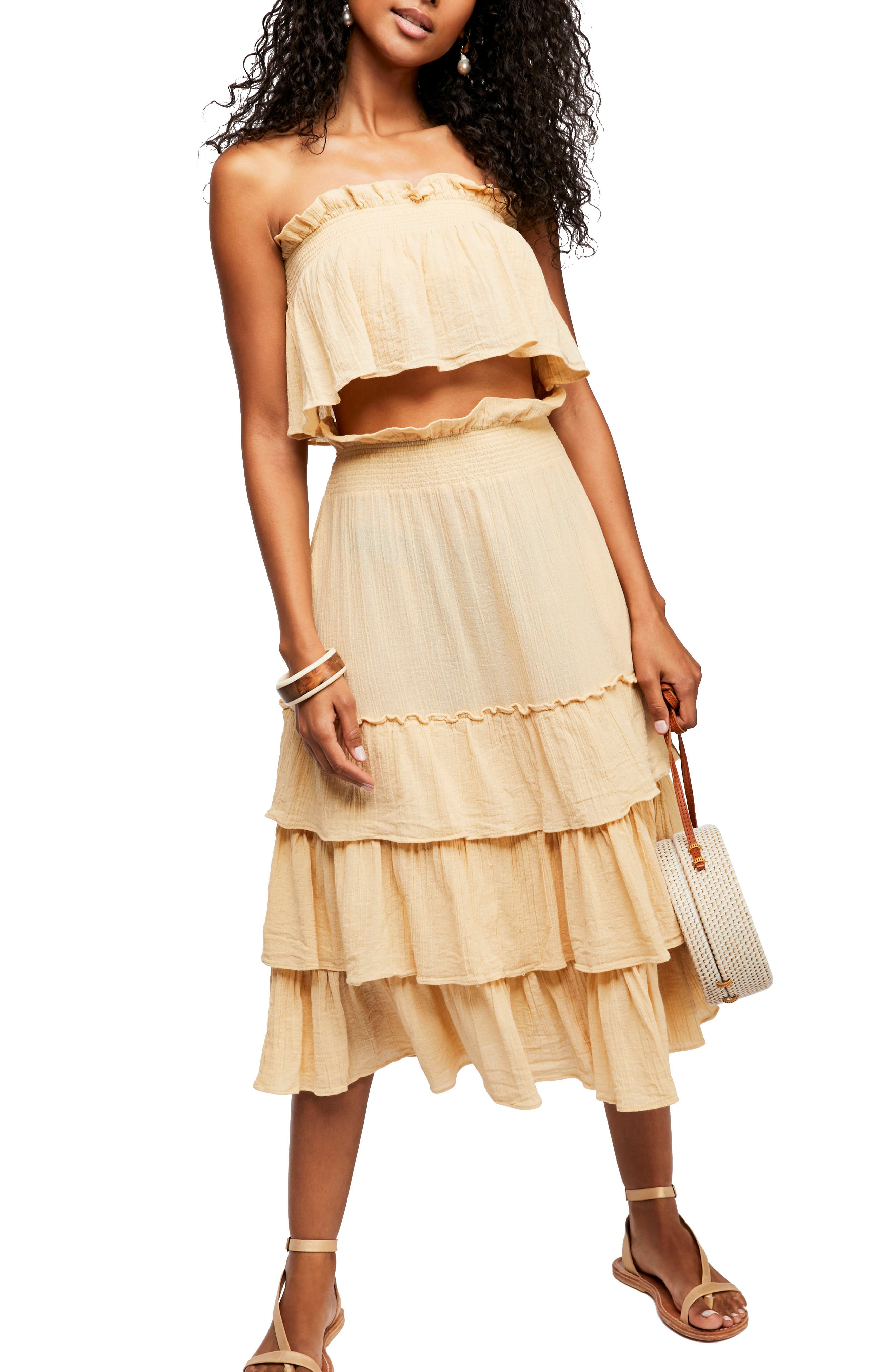 Endless Summer By Free People Sea Breeze Strapless Crop Top & Midi Skirt by Free People