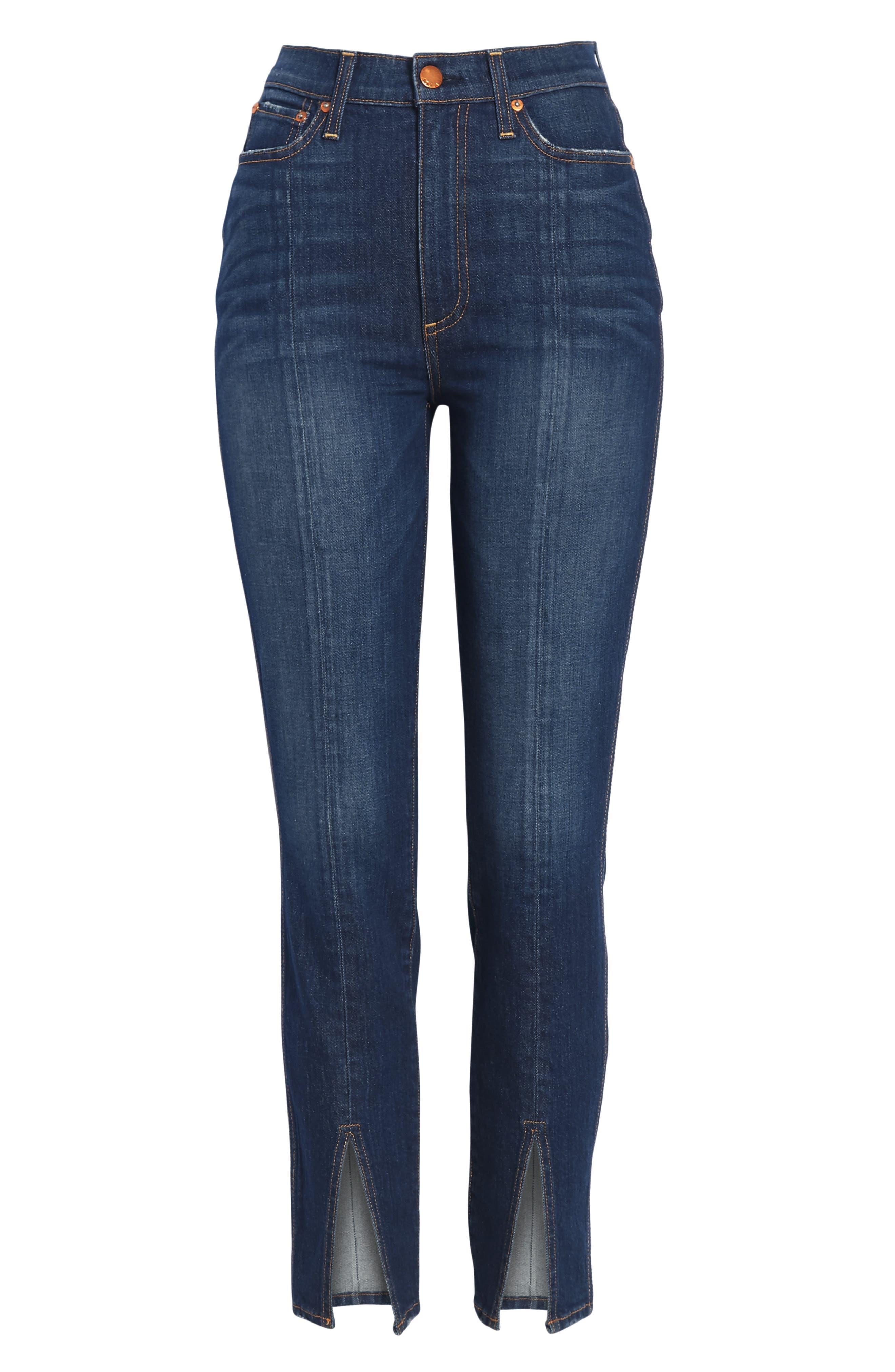 Good High Waist Front Slit Skinny Jeans,                             Alternate thumbnail 7, color,                             Good Times