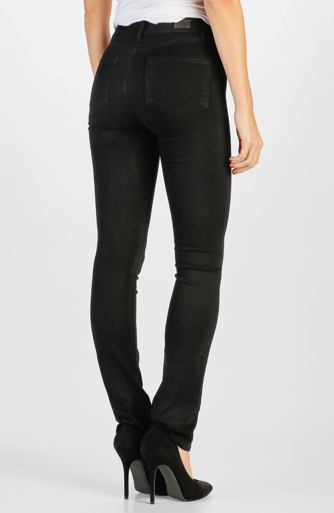 Transcend - Hoxton High Waist Straight Leg Jeans,                             Alternate thumbnail 2, color,                             Black Shadow