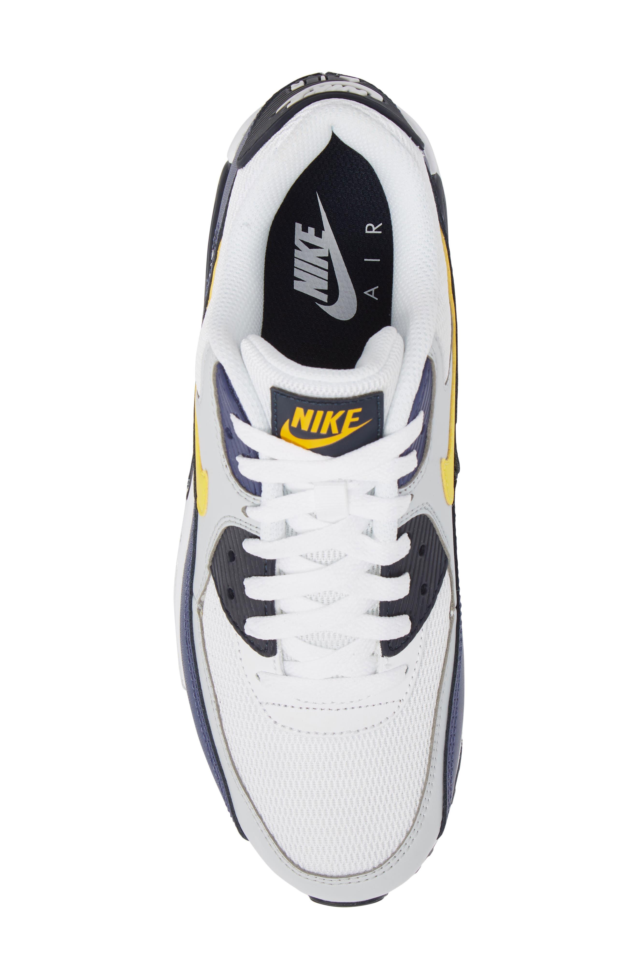 Air Max 90 Essential Sneaker,                             Alternate thumbnail 6, color,                             White/ Tour Yellow/ Blue