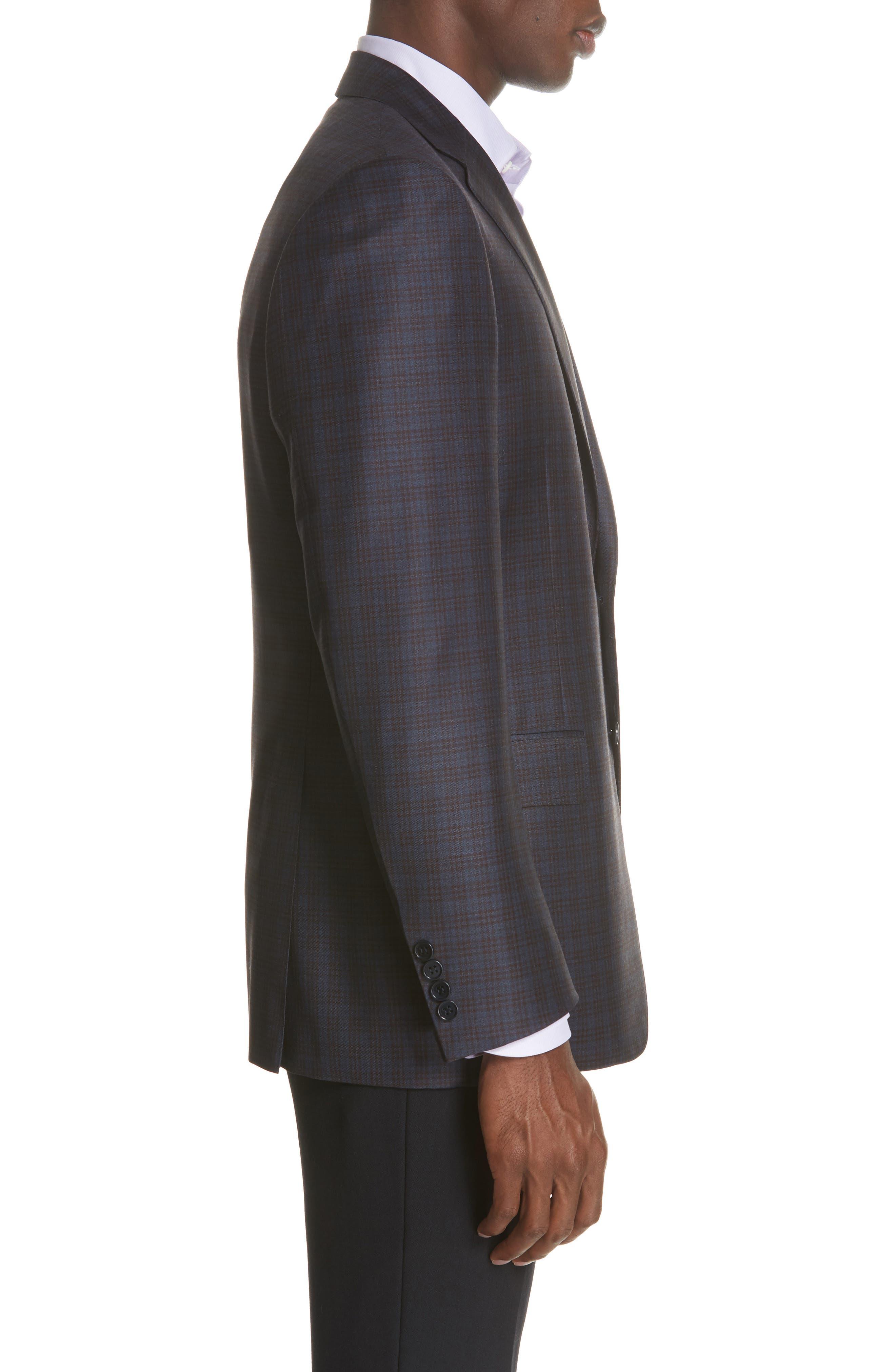 Classic Fit Plaid Wool Sport Coat,                             Alternate thumbnail 5, color,                             Dark Blue