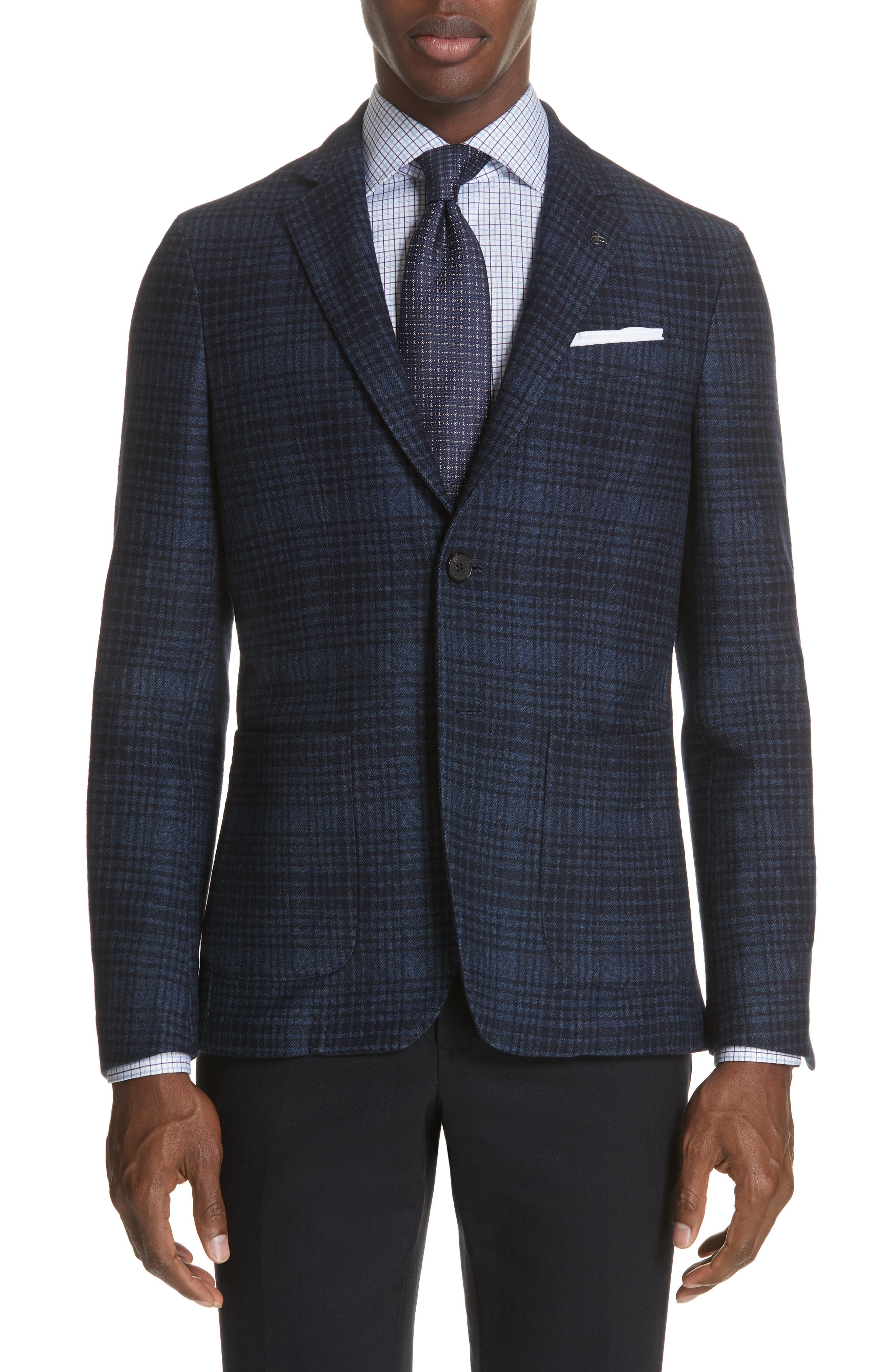 Slim Fit Plaid Wool & Cotton Sport Coat,                         Main,                         color, Blue