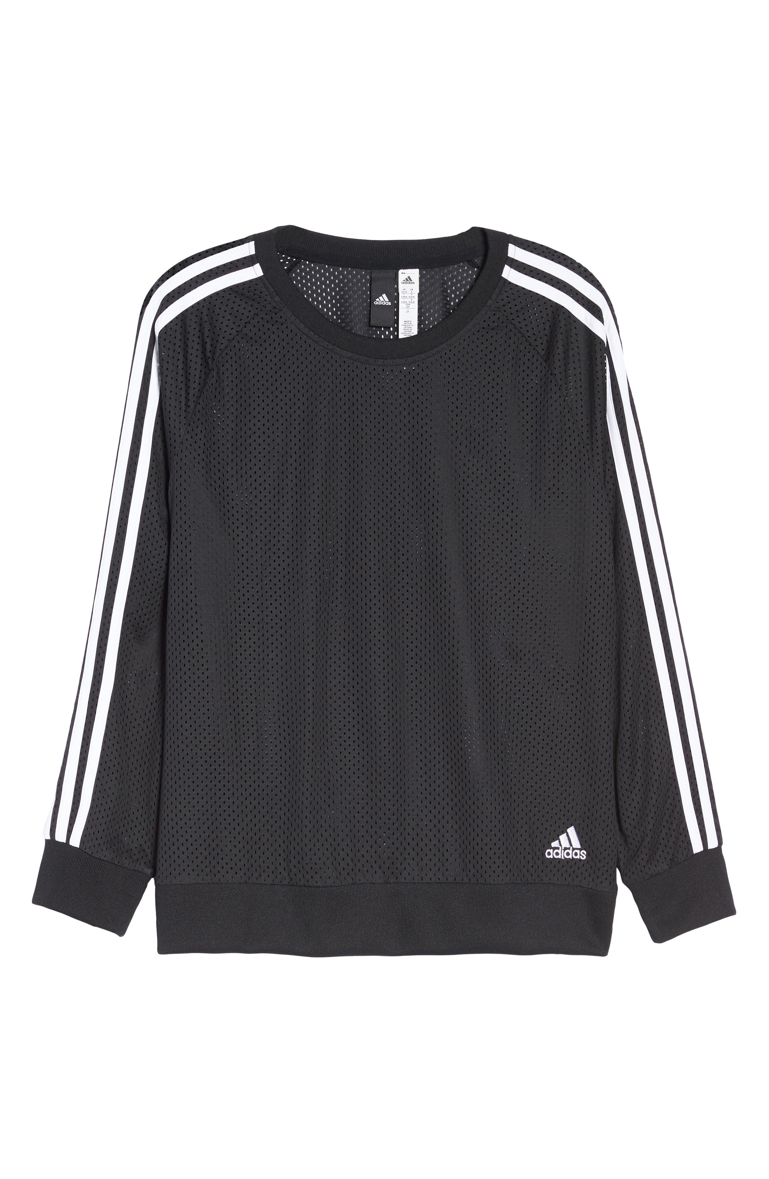 Essentials Mesh Sweatshirt,                             Alternate thumbnail 7, color,                             Black