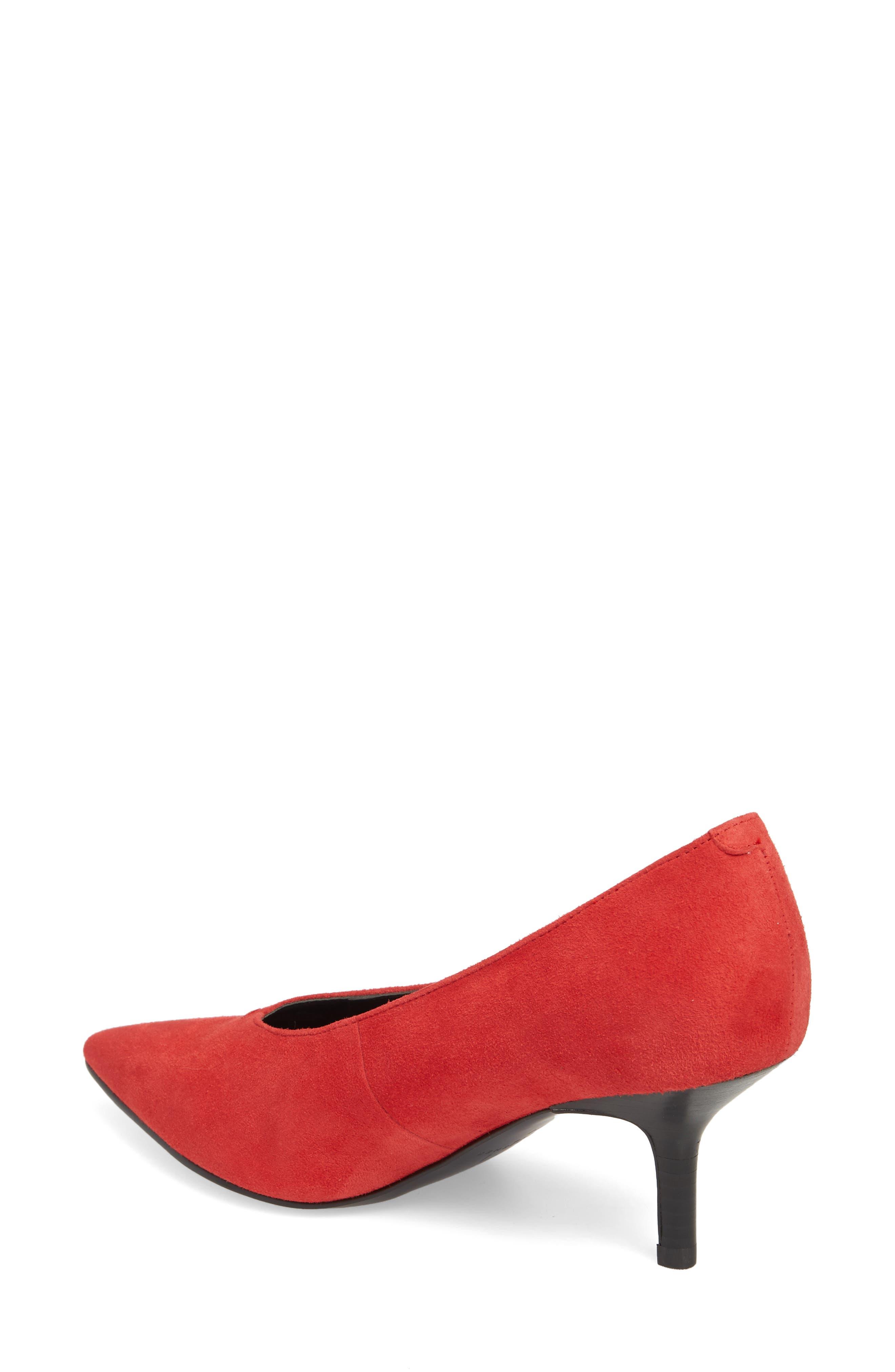 Dallon Kitten Heel Pump,                             Alternate thumbnail 2, color,                             Red Suede