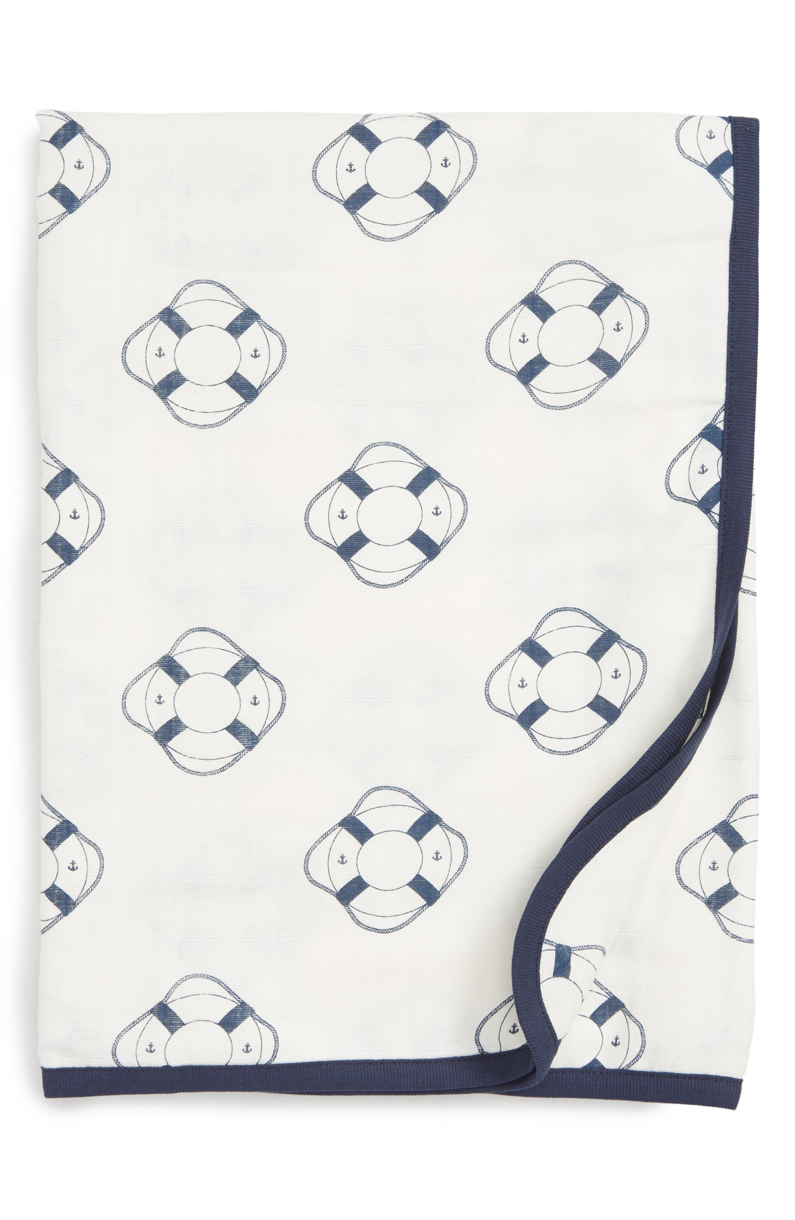 Always Luxury Organic Cotton Muslin Blanket,                             Main thumbnail 1, color,                             Welcome Aboard
