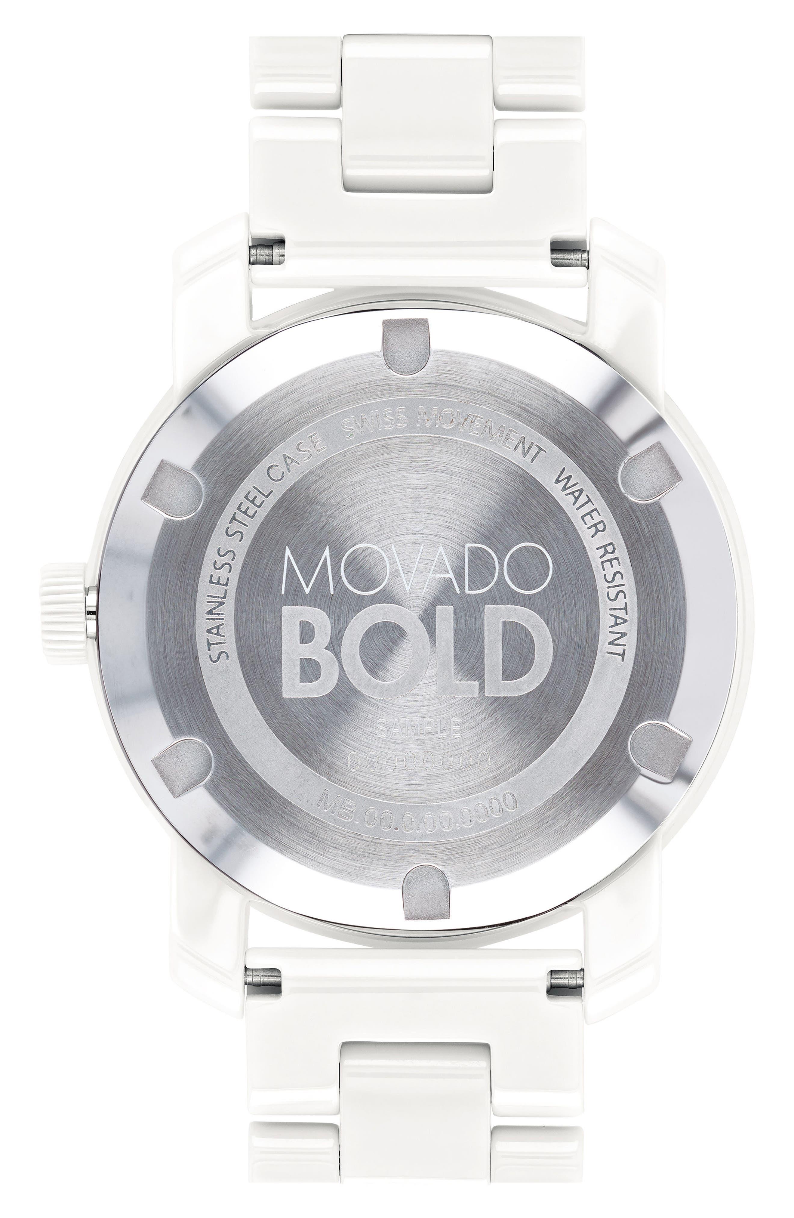 Bold Ceramic Bracelet Watch, 36mm,                             Alternate thumbnail 2, color,                             White