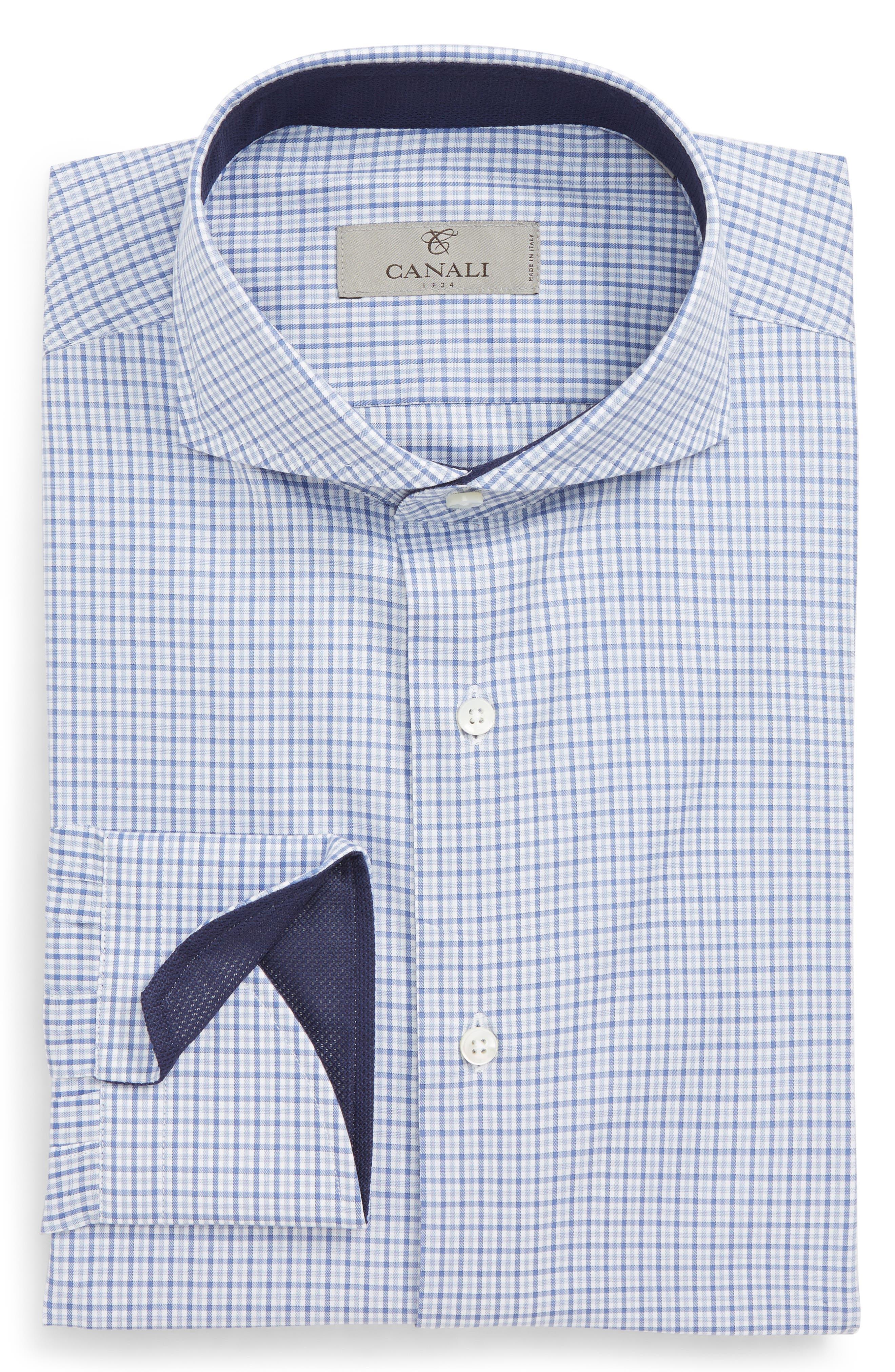 Regular Fit Check Dress Shirt,                             Alternate thumbnail 6, color,                             Medium Blue