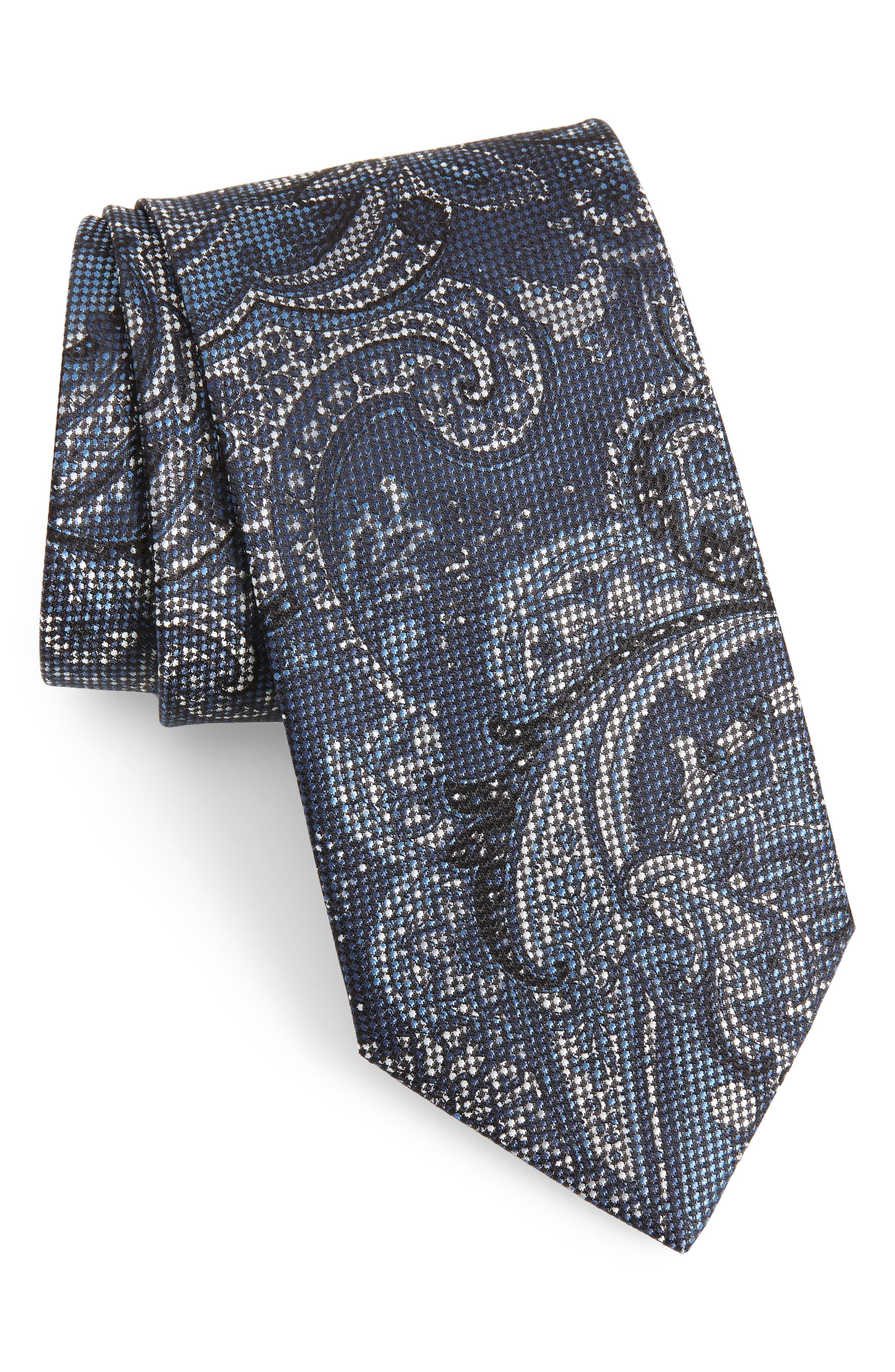Paisley Silk Tie,                             Main thumbnail 1, color,                             Blue/ Grey