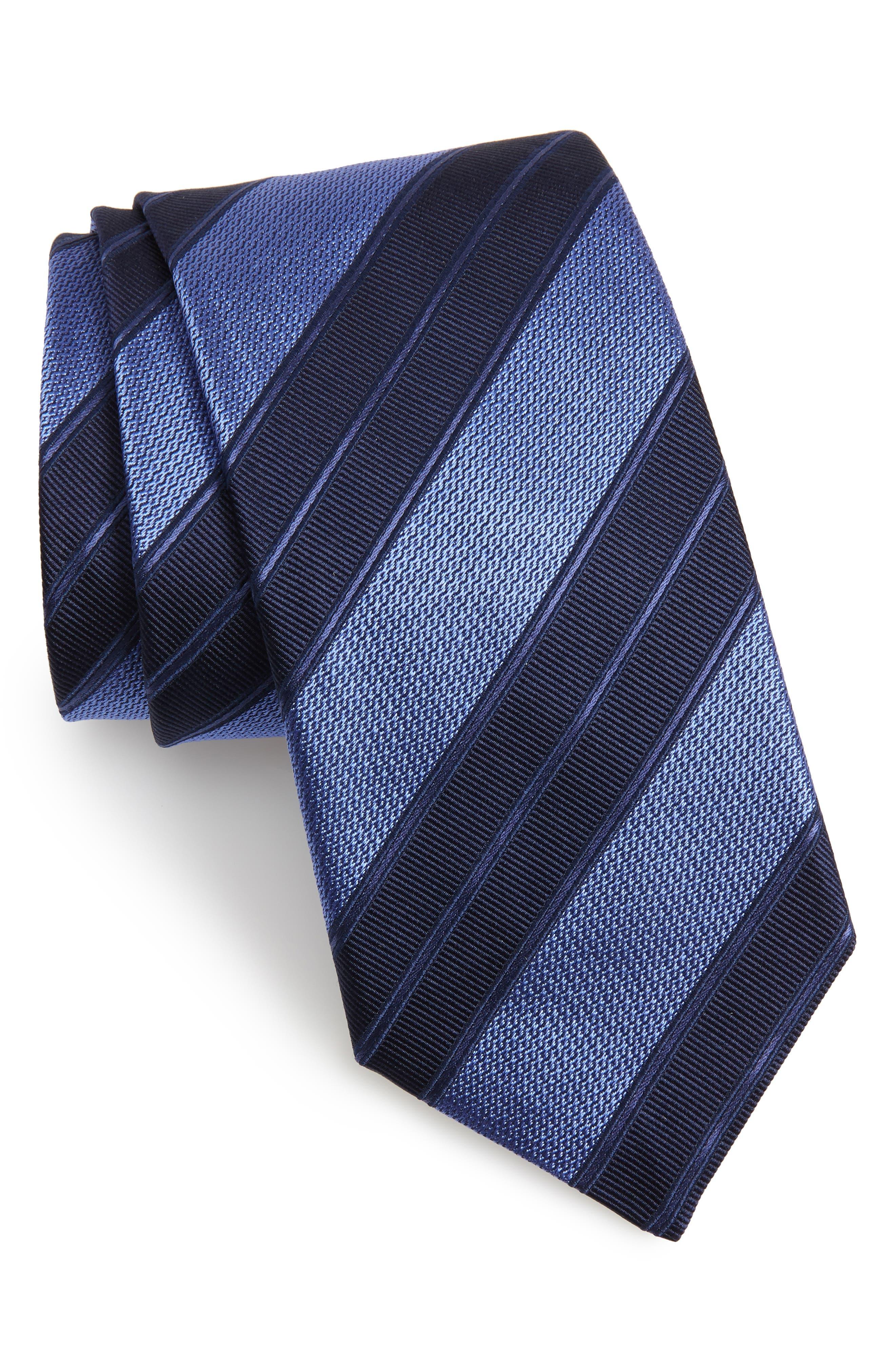 Stripe Silk Tie,                             Main thumbnail 1, color,                             Navy
