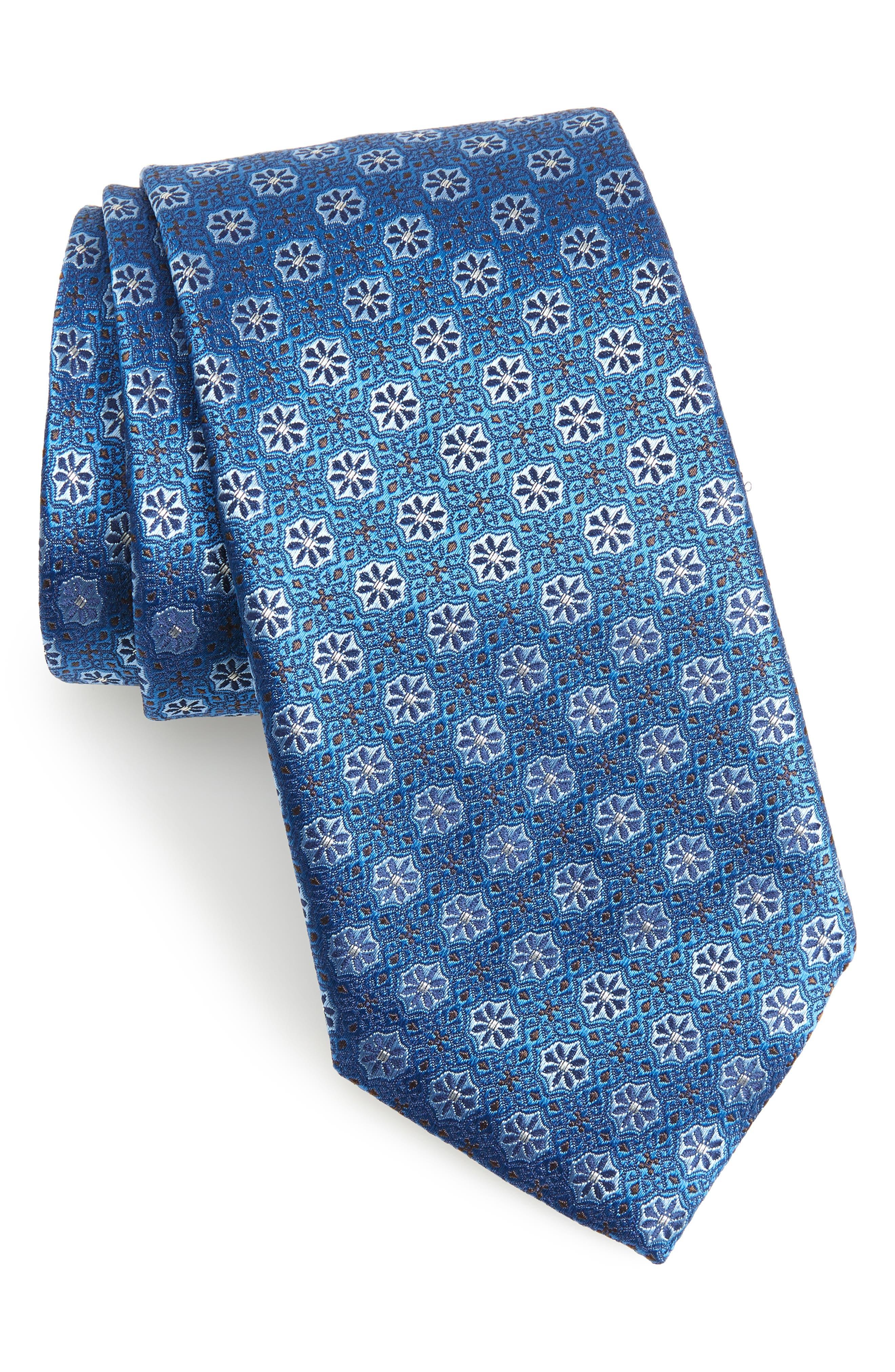 Medallion Silk Tie,                             Main thumbnail 1, color,                             Turquoise