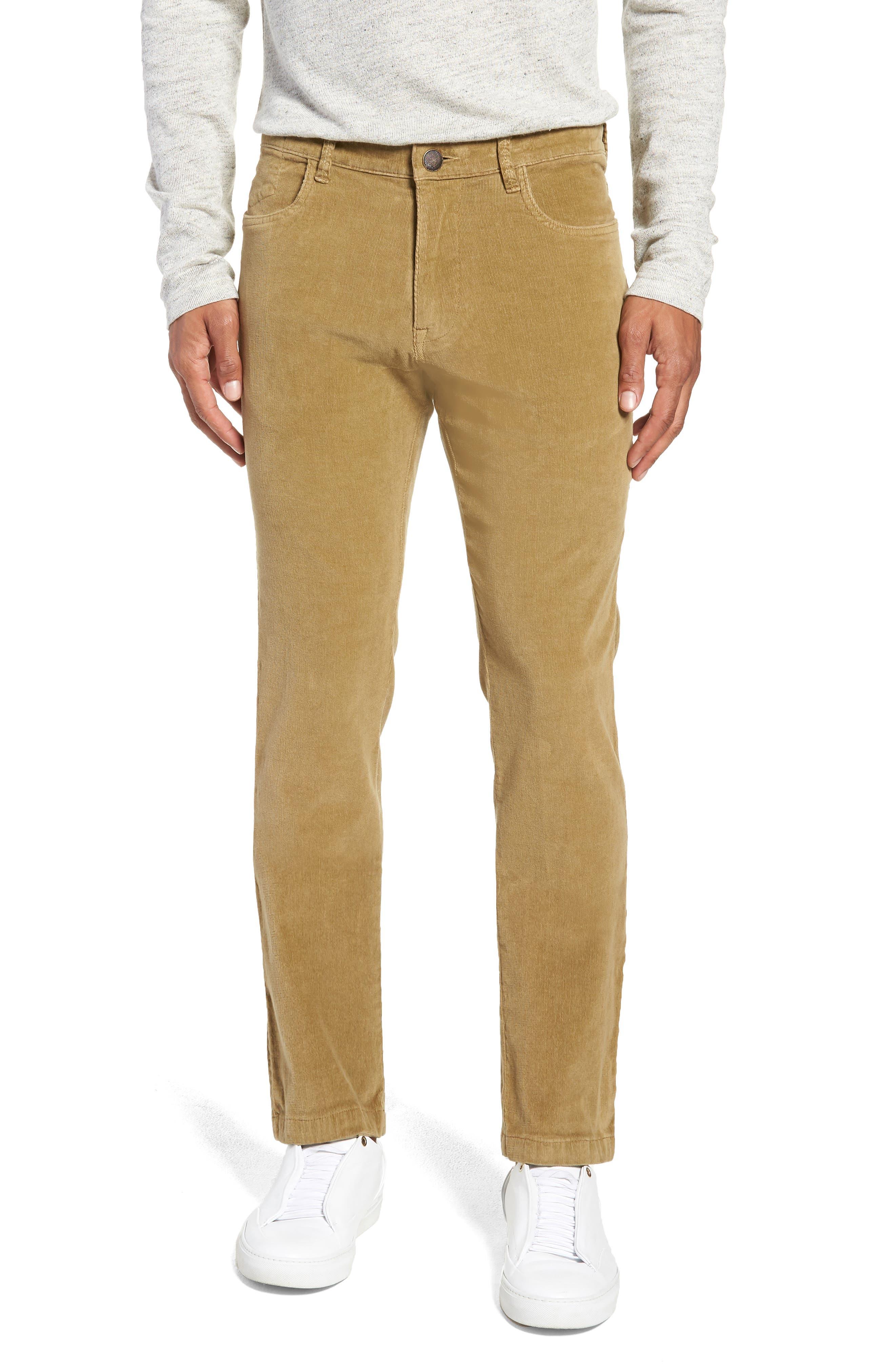 VINTAGE 1946 Modern Fit Stretch Corduroy Pants in British Tan