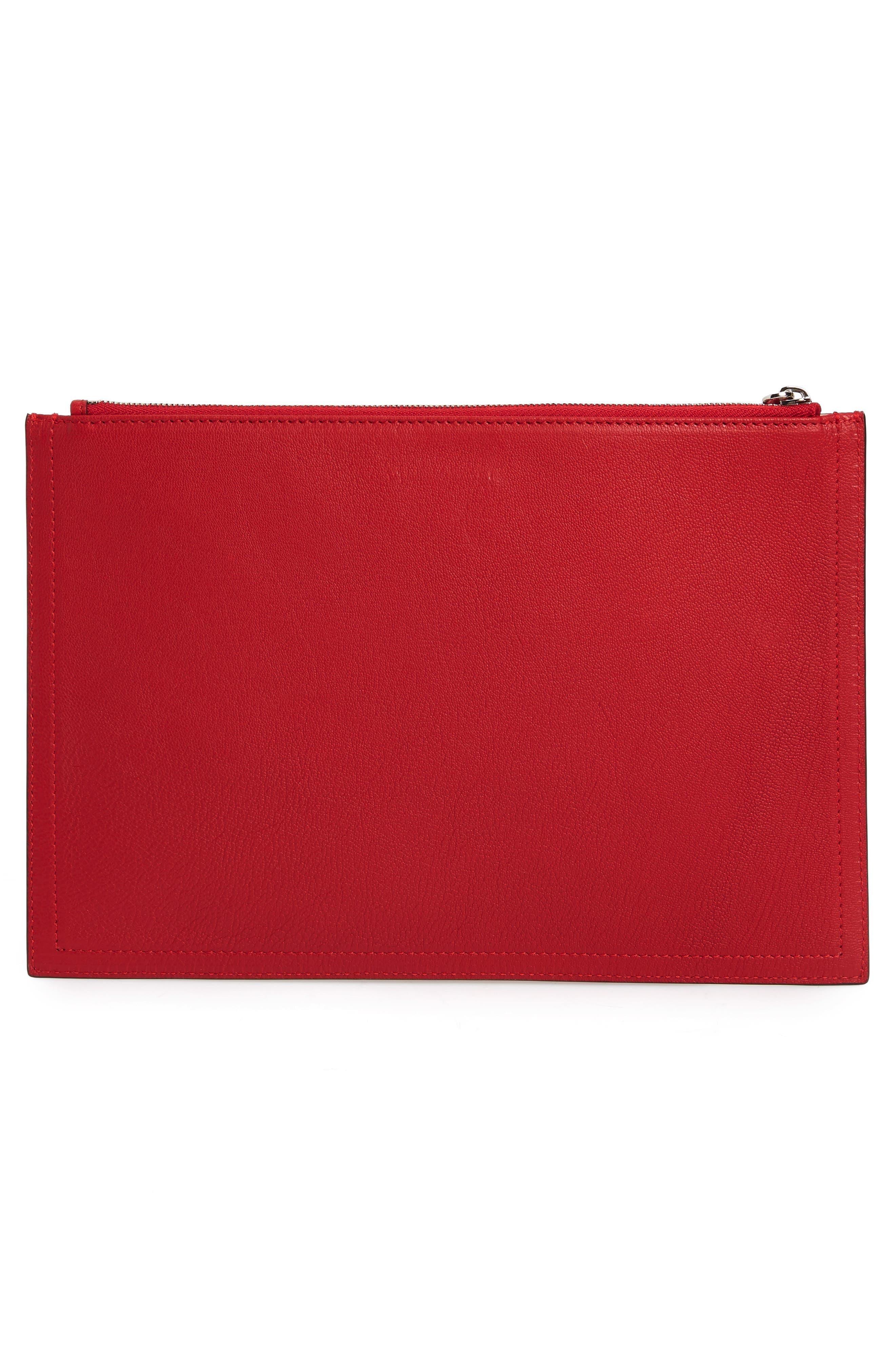Medium Antigona Leather Pouch,                             Alternate thumbnail 3, color,                             Bright Red