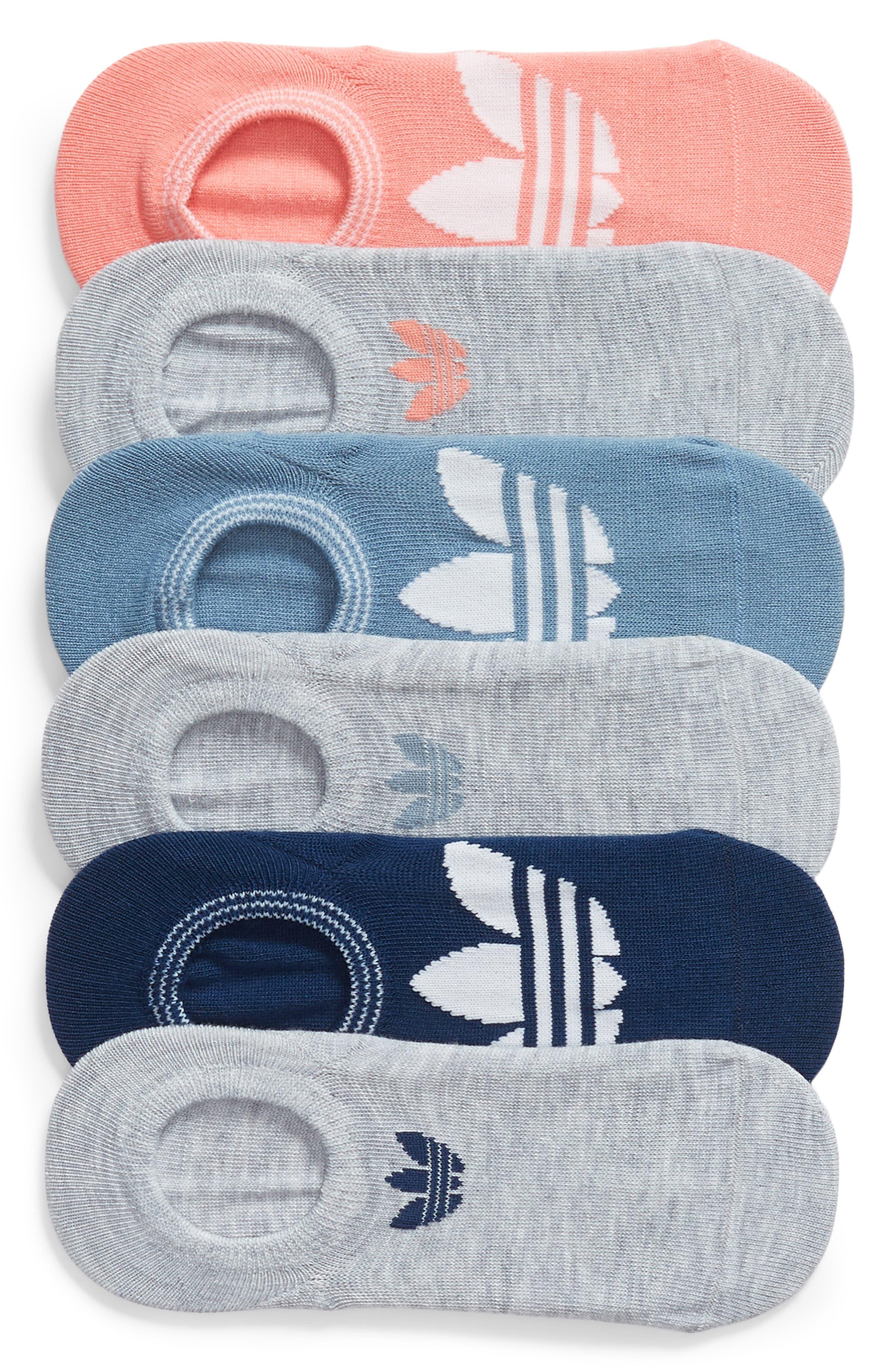 6-Pack Trefoil Superlite No-Show Socks,                         Main,                         color, Tactile Rose Multi