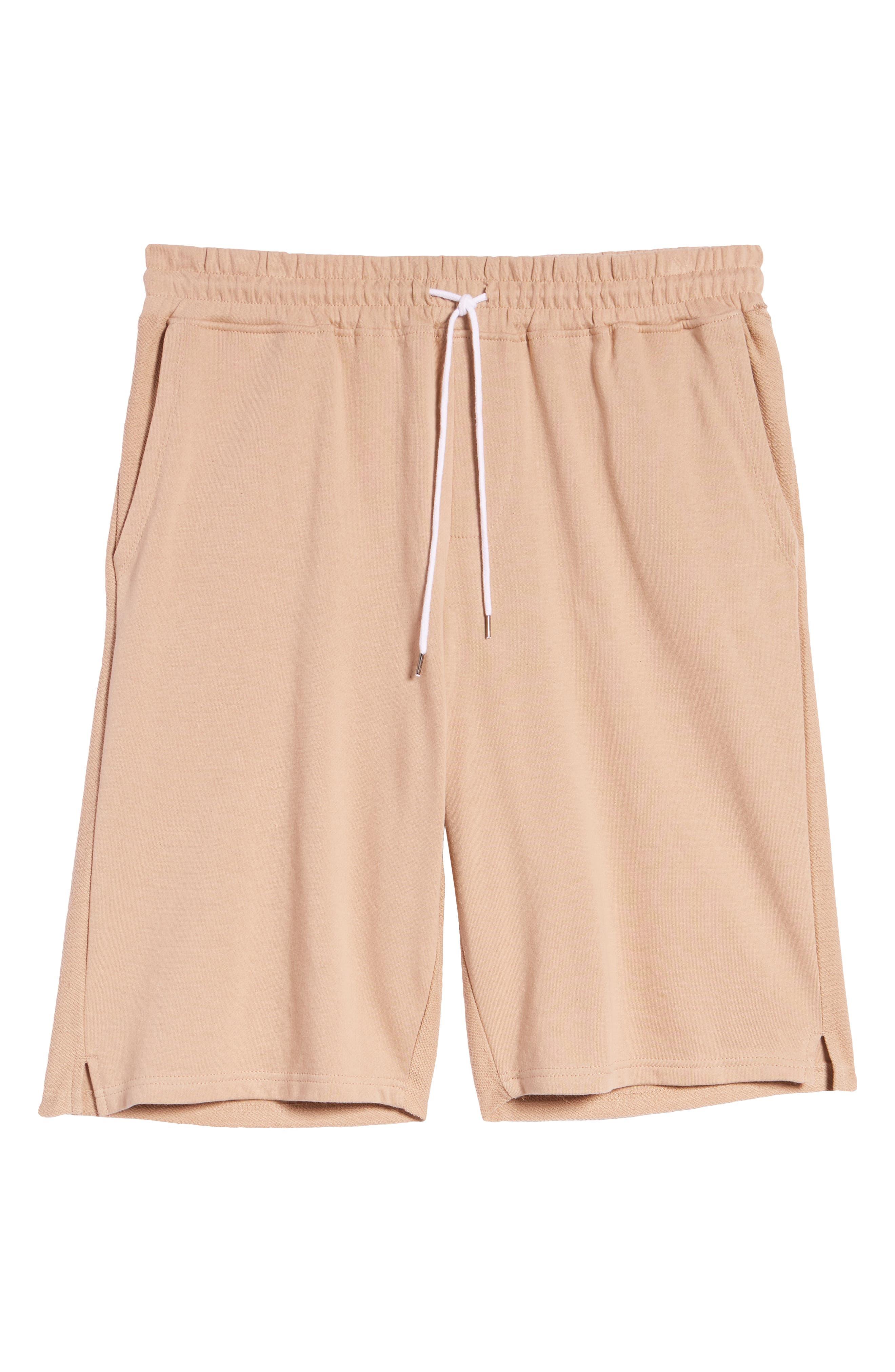 Terry Drawstring Shorts,                             Alternate thumbnail 5, color,                             Tan Safari