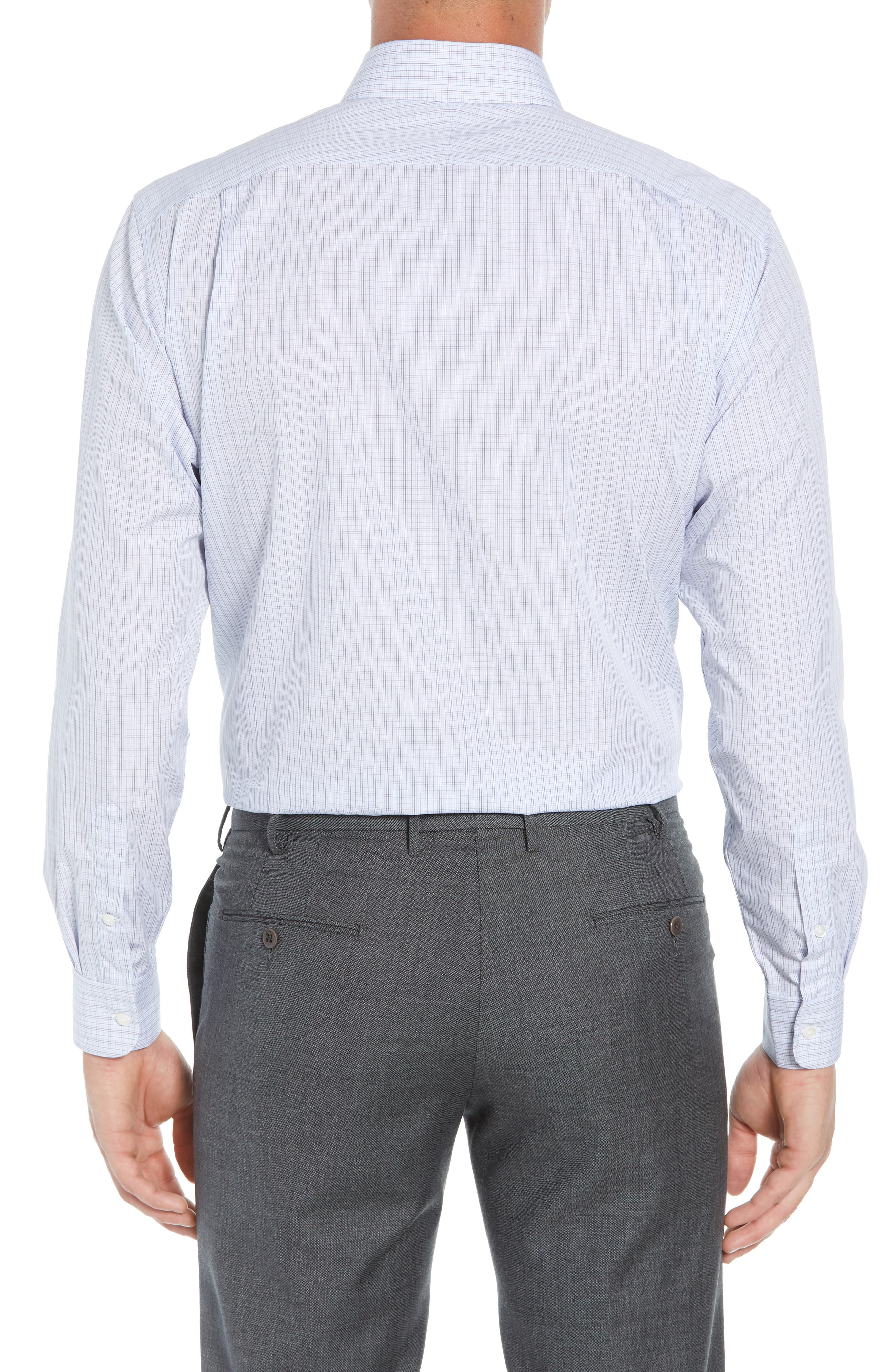 Traditional Fit Plaid Dress Shirt,                             Alternate thumbnail 3, color,                             Navy Medieval