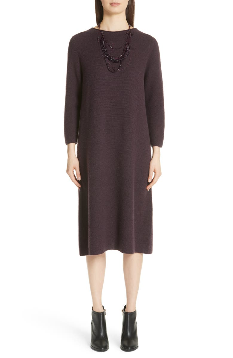 Metallic Knit Wool Blend Dress