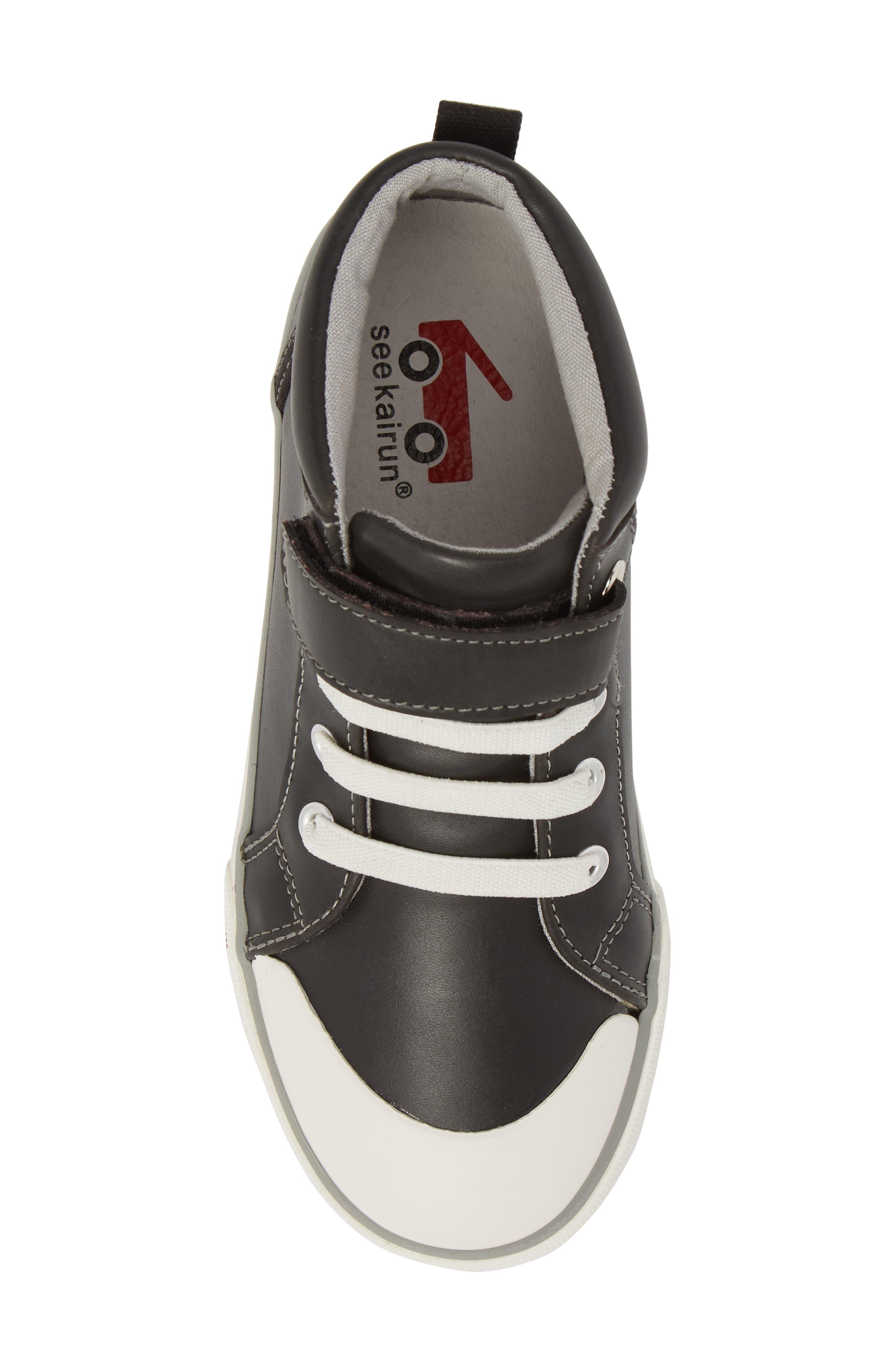 Peyton Metallic Mid Top Sneaker,                             Alternate thumbnail 5, color,                             Black Leather